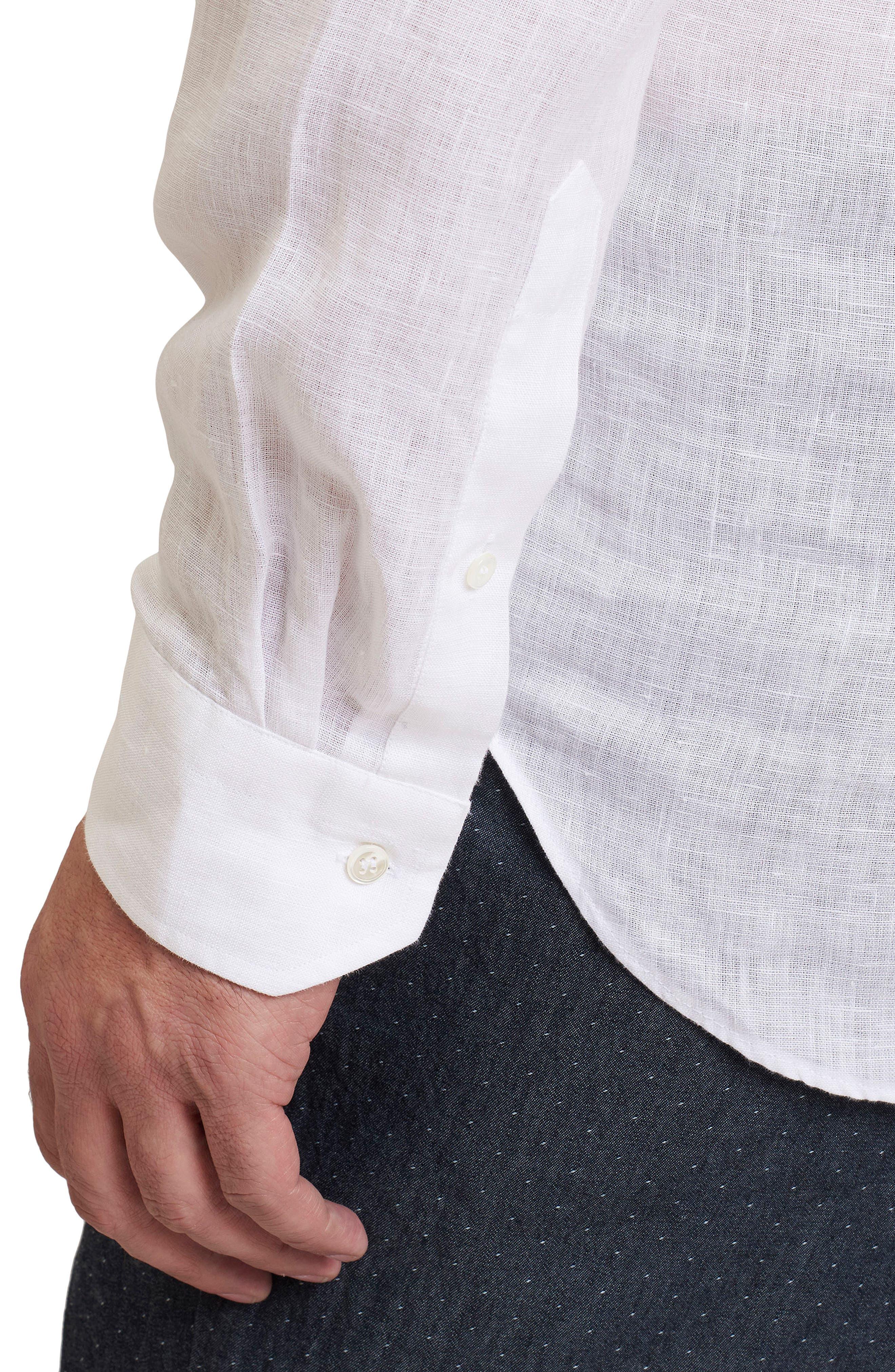 Delave Regular Fit Linen Sport Shirt,                             Alternate thumbnail 3, color,                             100