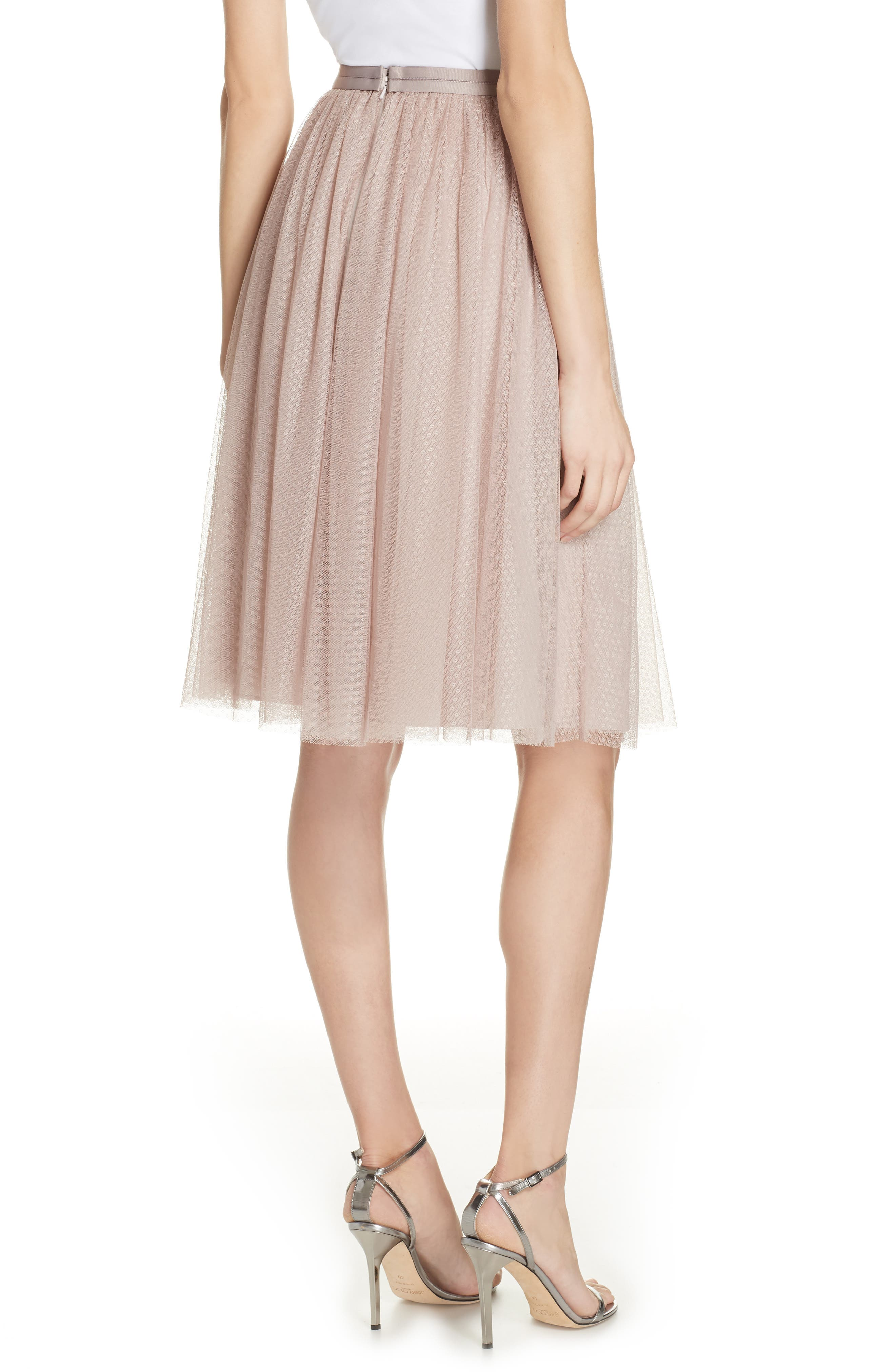 Dotted Tulle A-Line Skirt,                             Alternate thumbnail 2, color,                             DUSK ROSE