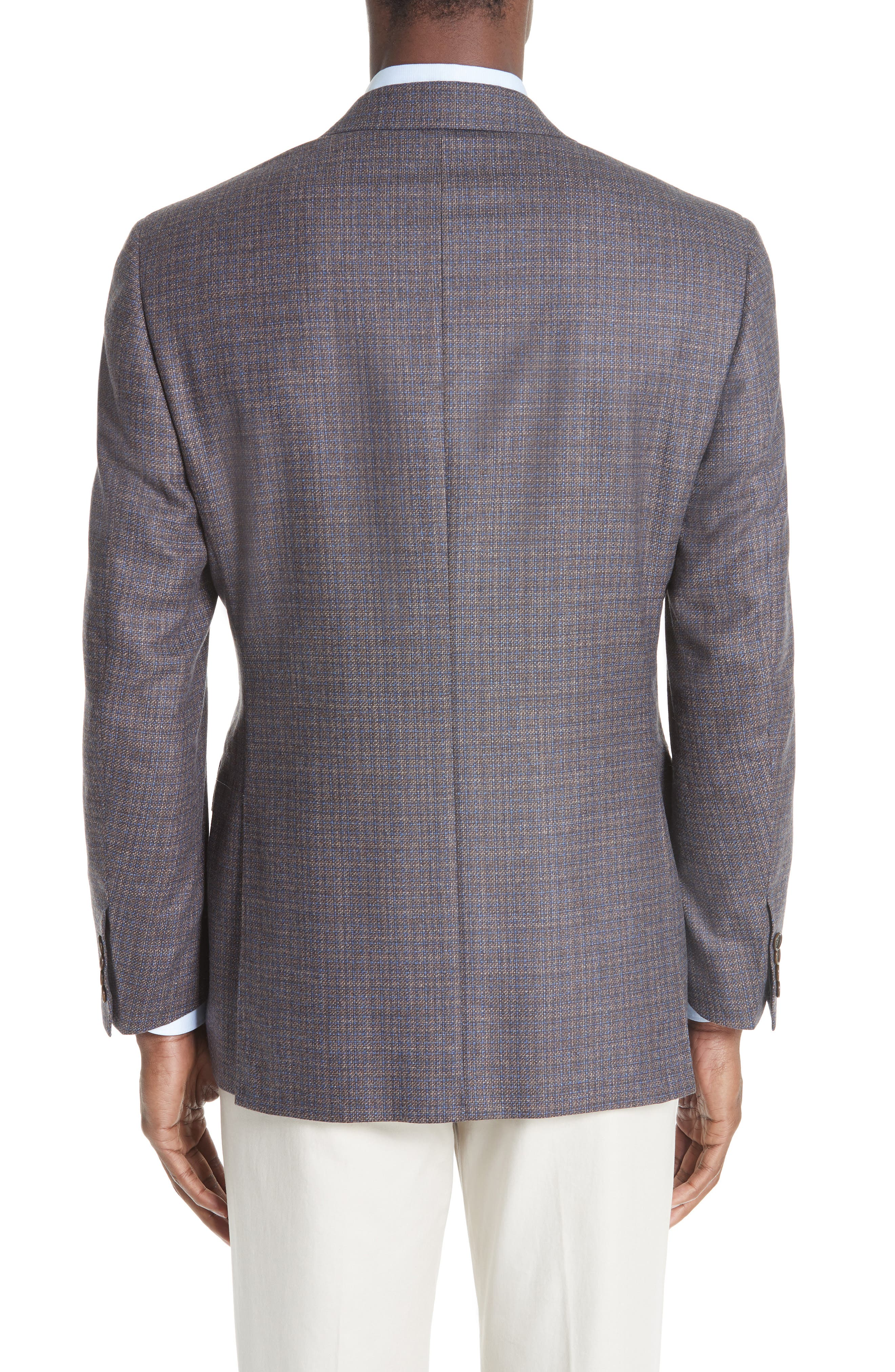Classic Fit Check Wool & Cashmere Sport Coat,                             Alternate thumbnail 2, color,                             BROWN/ BLUE