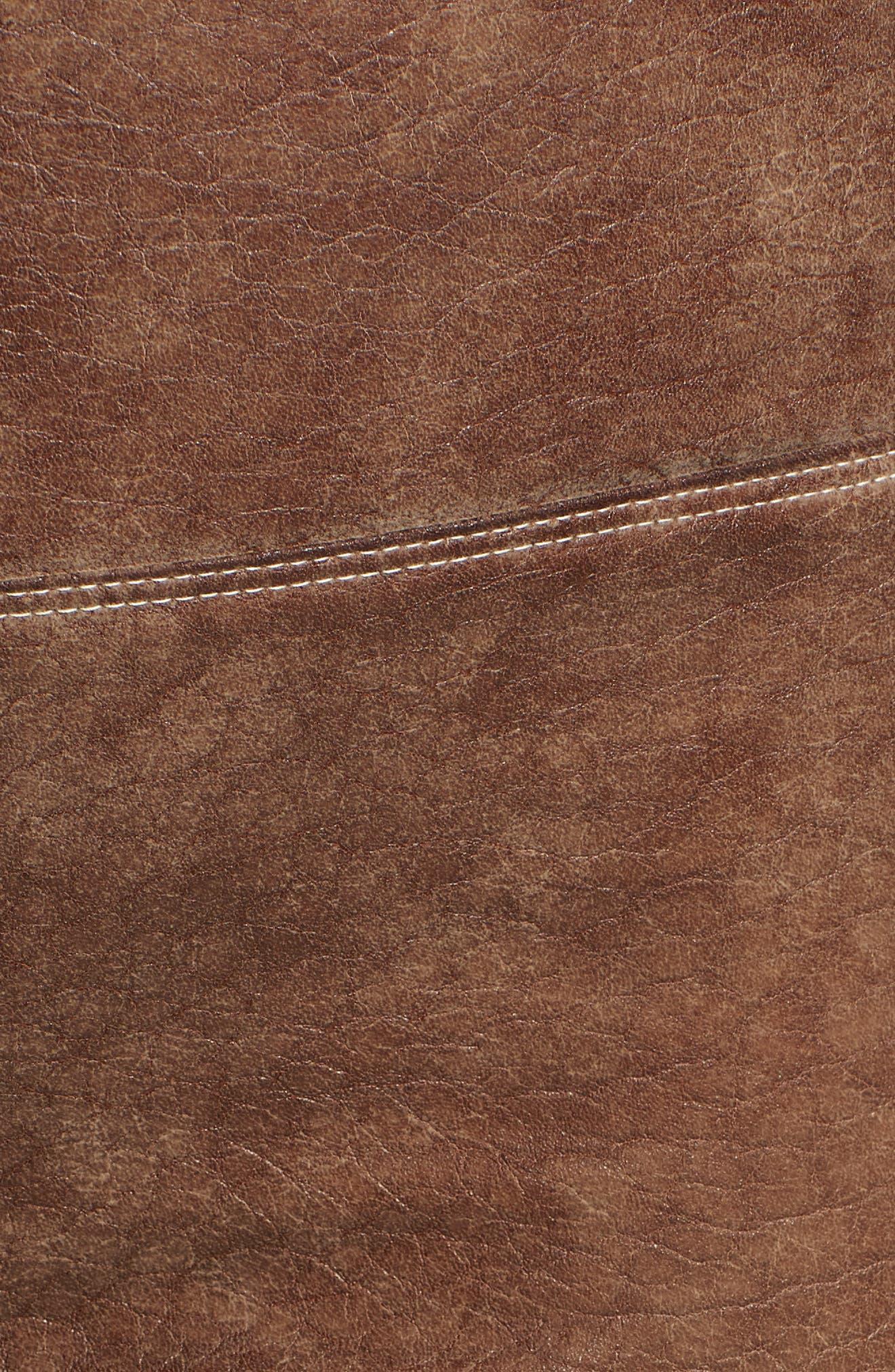 Faux Leather Leggings,                             Alternate thumbnail 6, color,                             SADDLE