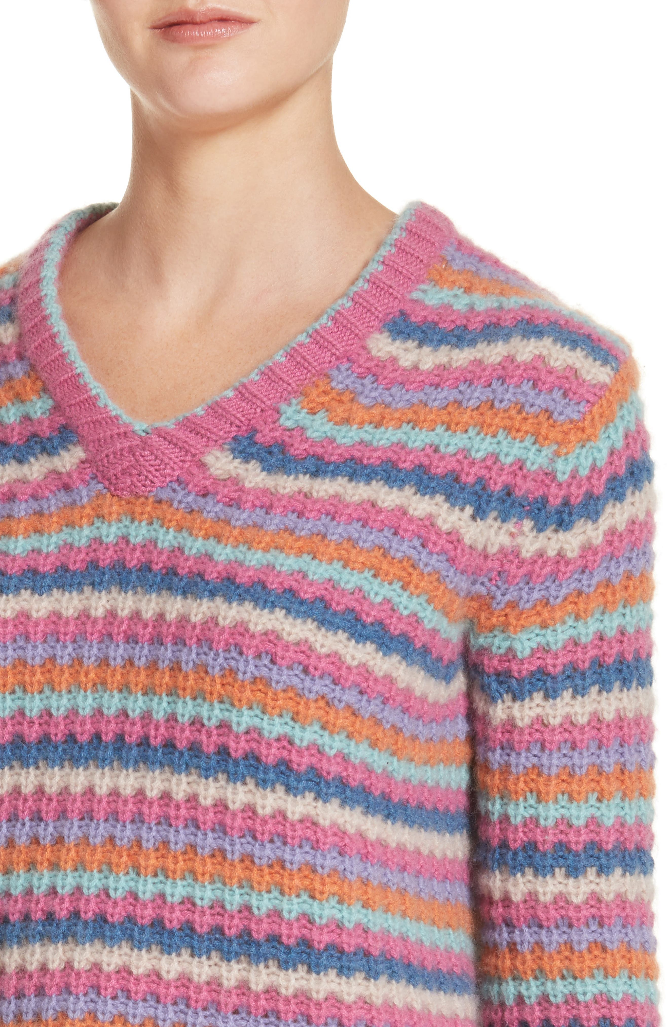 Stripe Cashmere Sweater,                             Alternate thumbnail 4, color,                             651