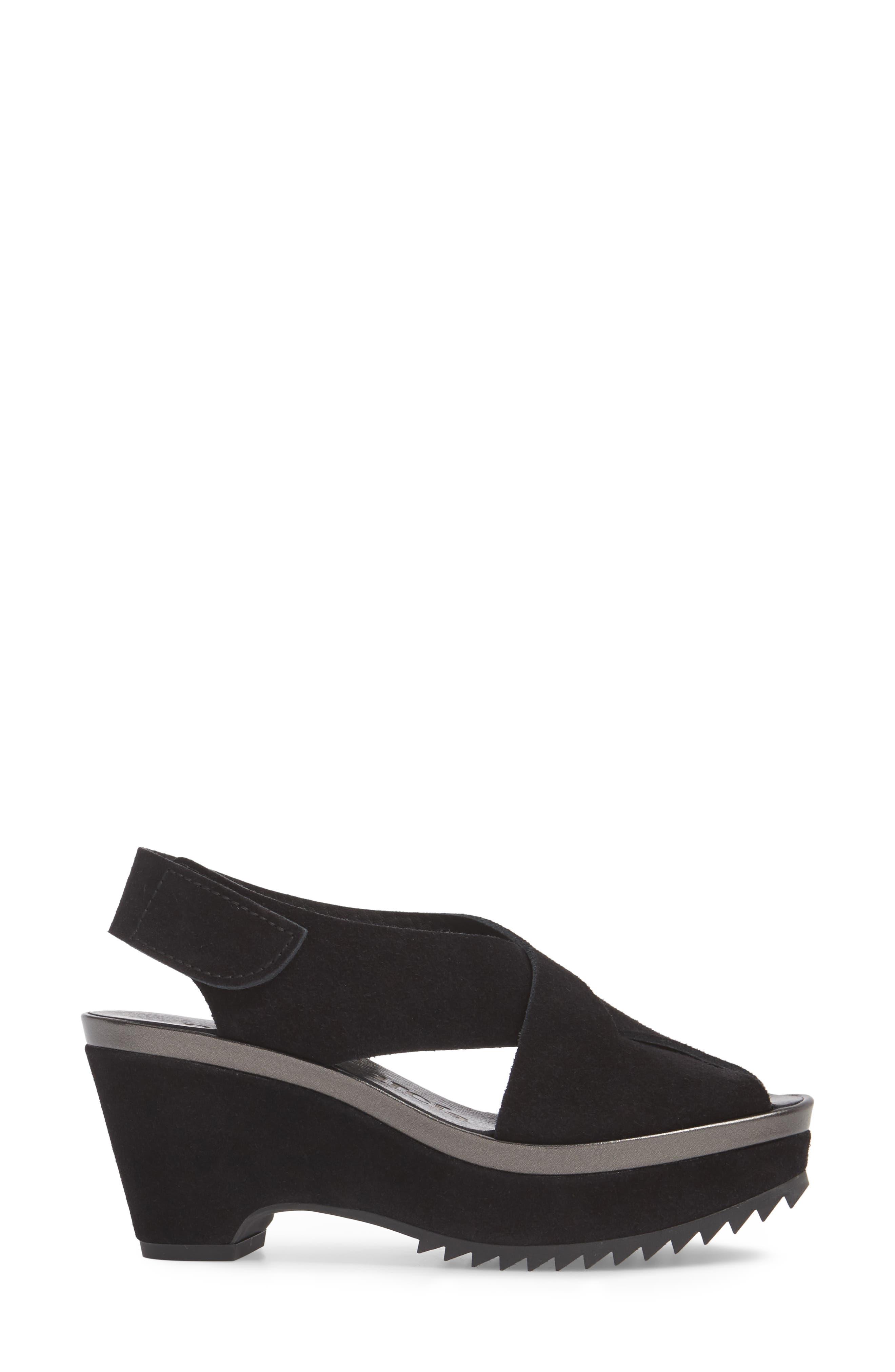 Fayre Cross Strap Wedge Sandal,                             Alternate thumbnail 3, color,                             BLACK