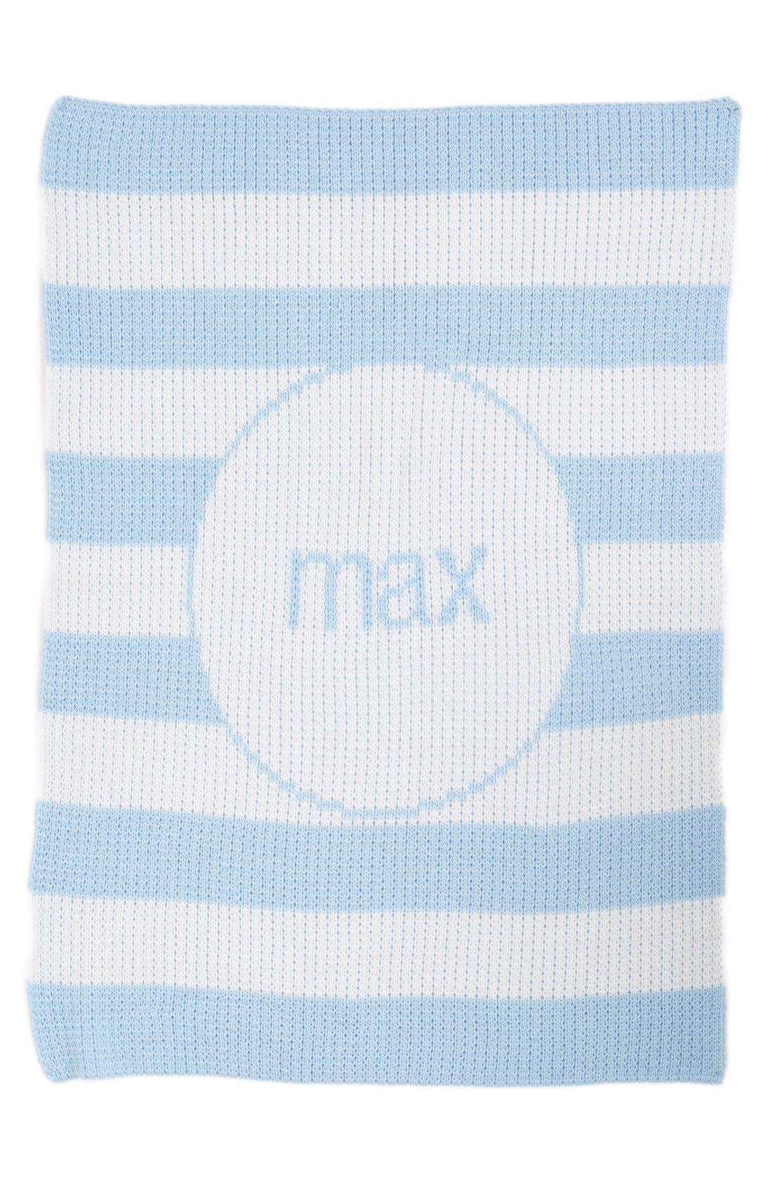 'Modern Stripe' Personalized Stroller Blanket,                             Main thumbnail 1, color,                             WHITE/ PALE BLUE