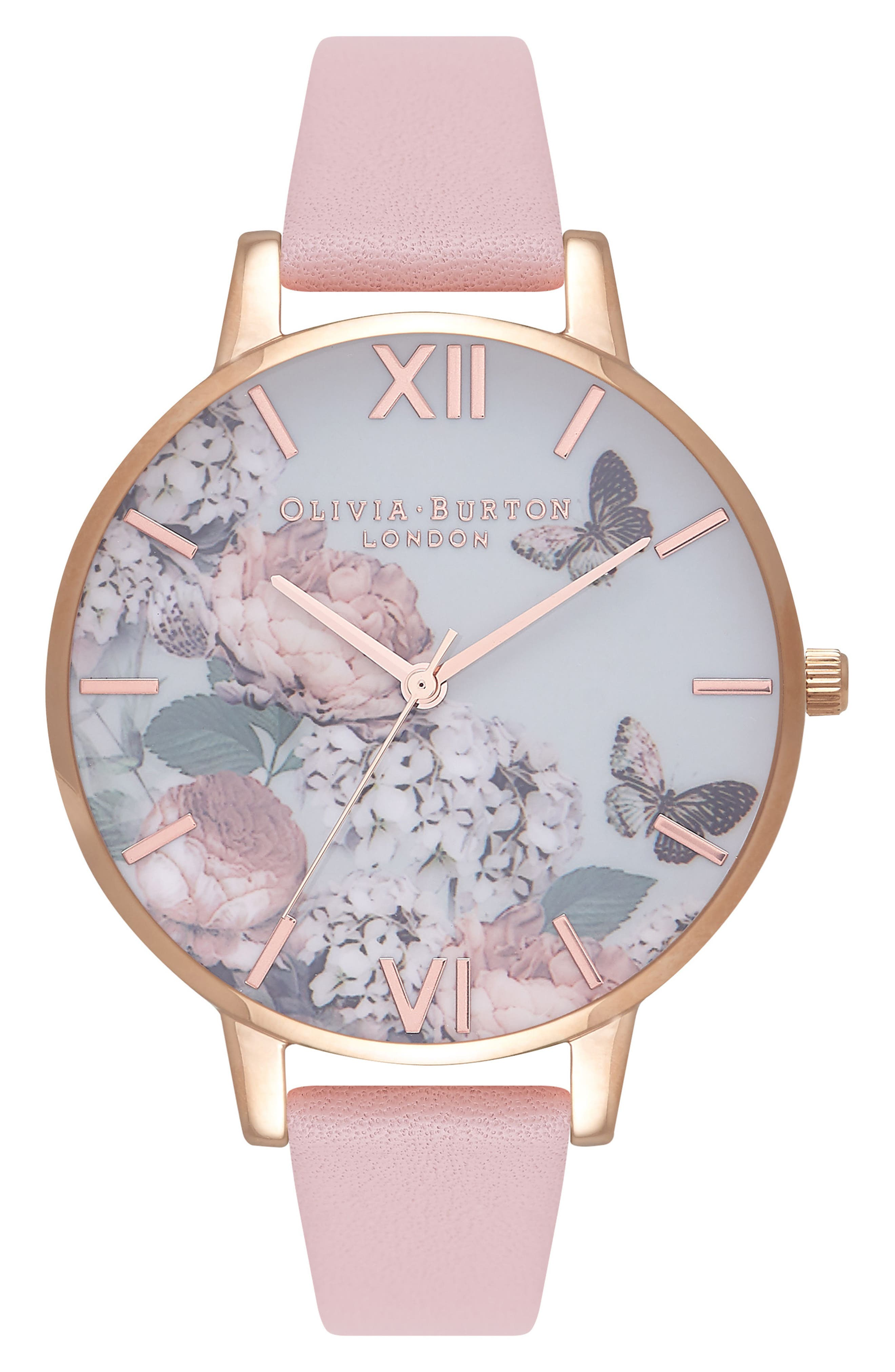 Signature Florals Leather Strap Watch, 38mm, Main, color, DUSTY PINK/ GREY/ ROSE GOLD