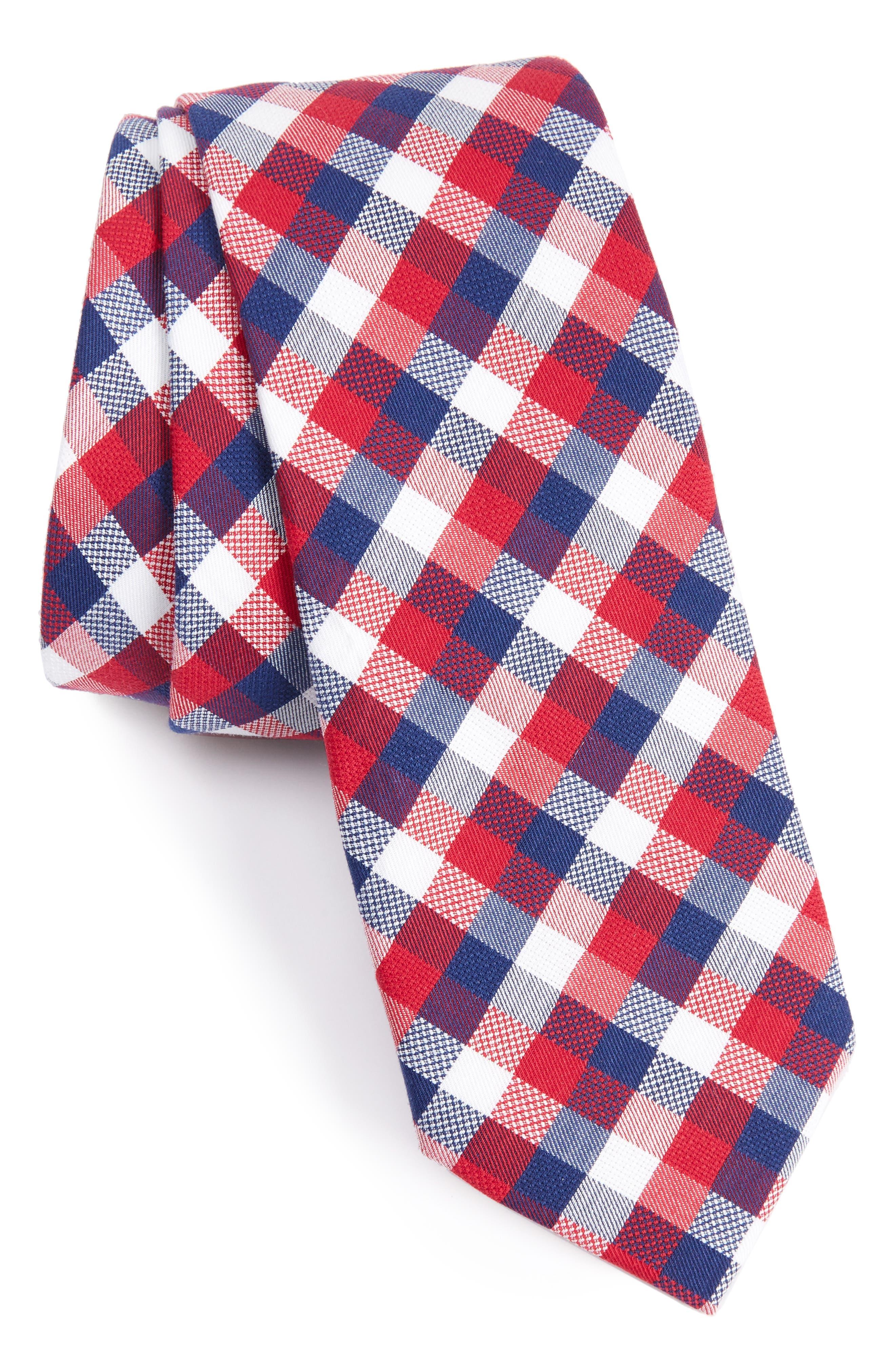Scott Check Cotton Skinny Tie,                             Main thumbnail 4, color,