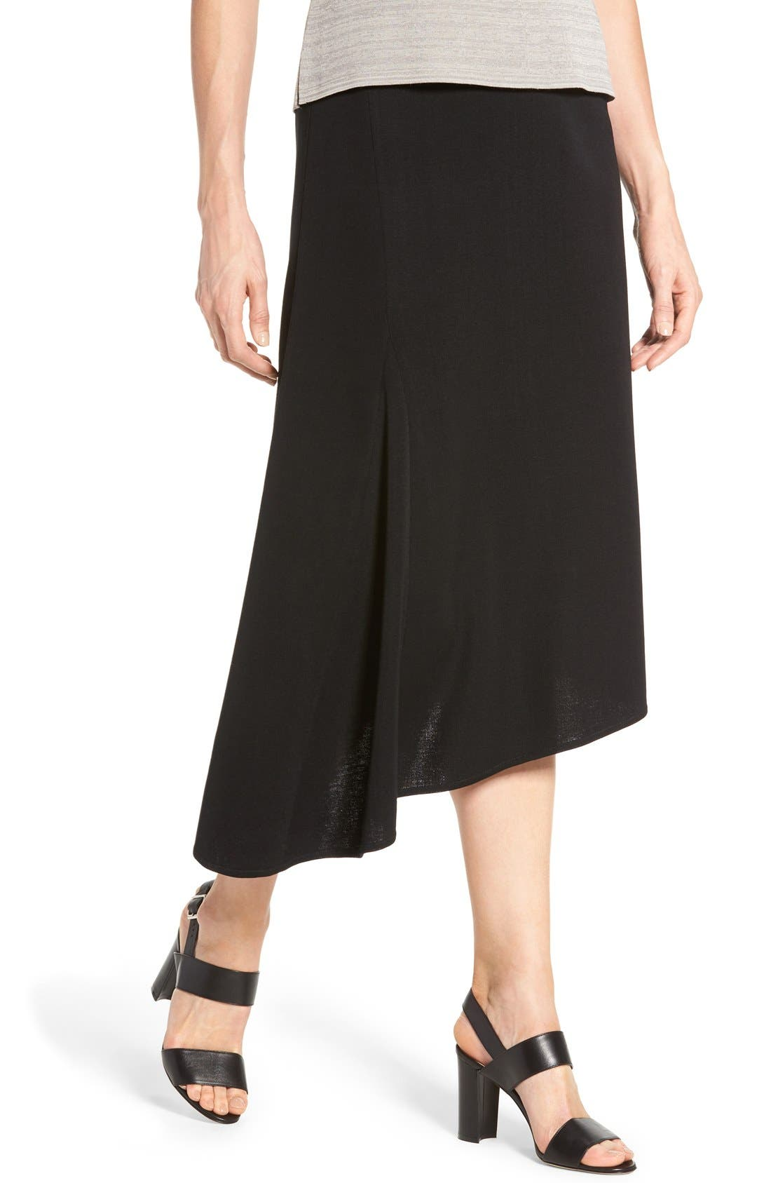 Asymmetrical A-Line Knit Skirt,                             Alternate thumbnail 4, color,                             BLACK