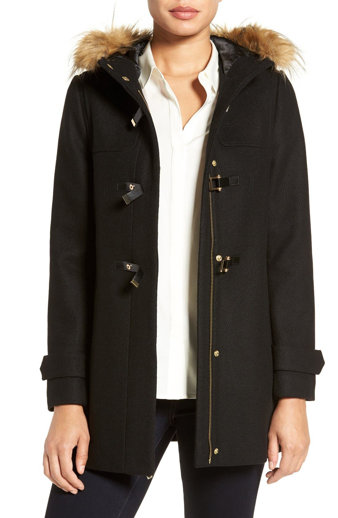 Cole Haan Hooded Duffle Coat with Faux Fur Trim,                             Main thumbnail 1, color,                             BLACK