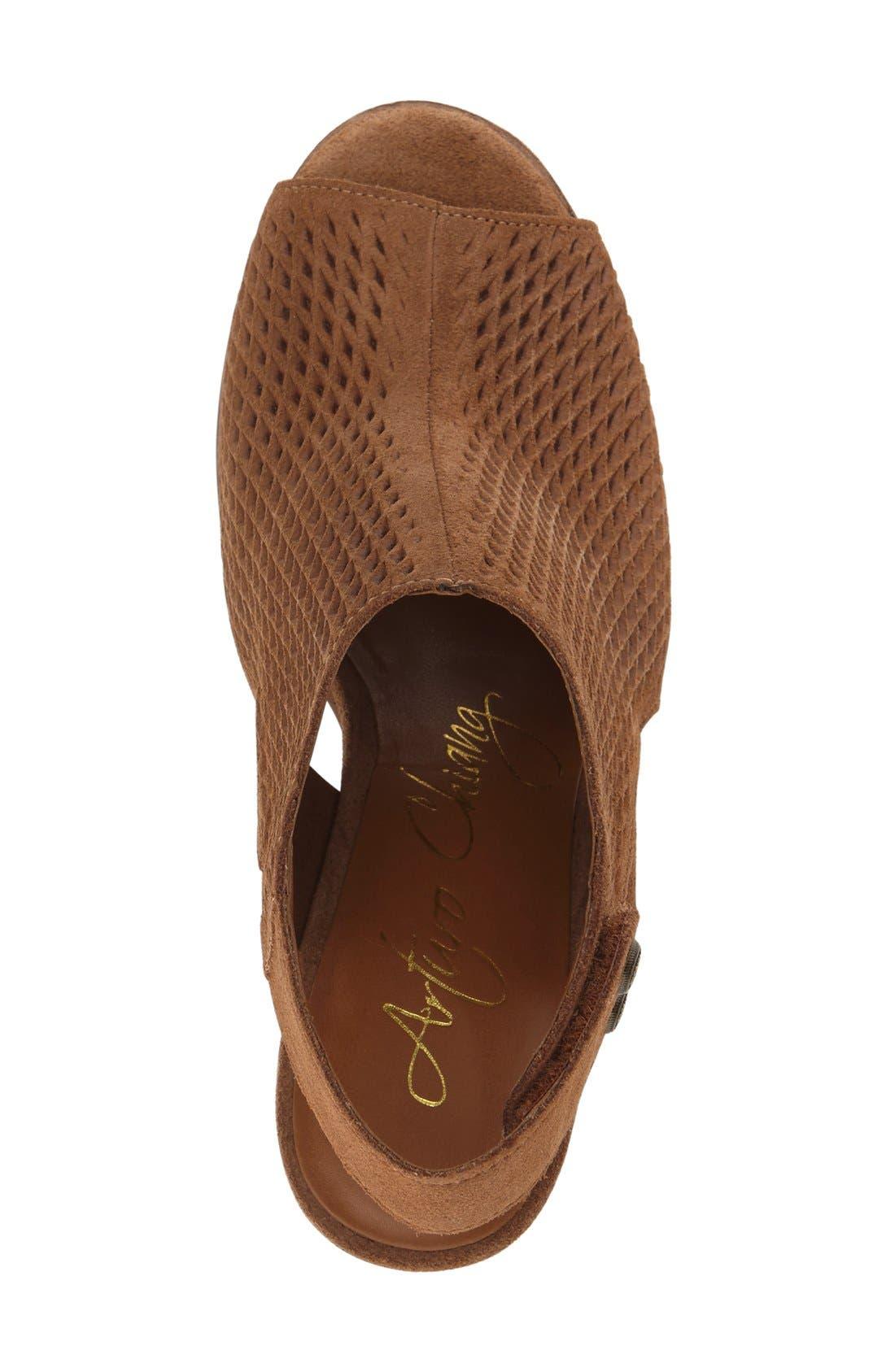 'Janel' Perforated Slingback Sandal,                             Alternate thumbnail 4, color,                             201