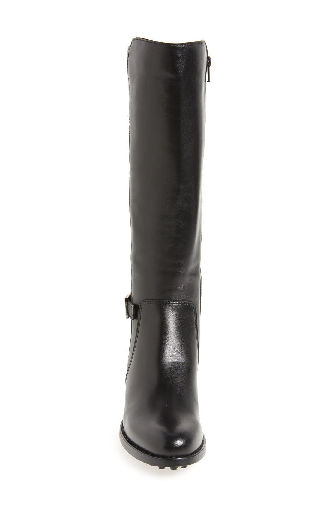 Silvana Waterproof Riding Boot,                             Alternate thumbnail 3, color,                             BLACK LEATHER