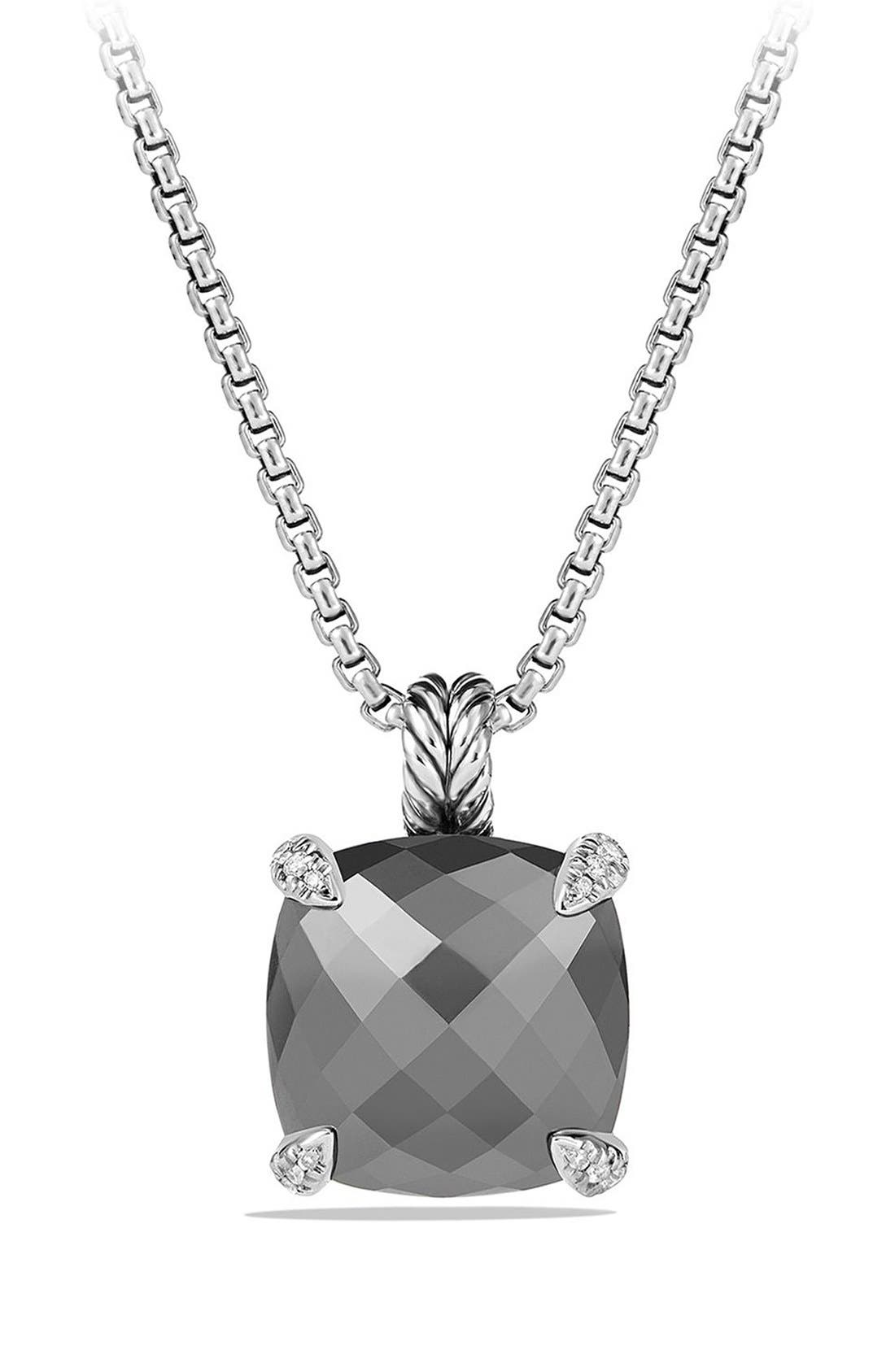 'Châtelaine' Pendant Necklace with Semiprecious Stone and Diamonds,                         Main,                         color, SILVER/ HEMATINE