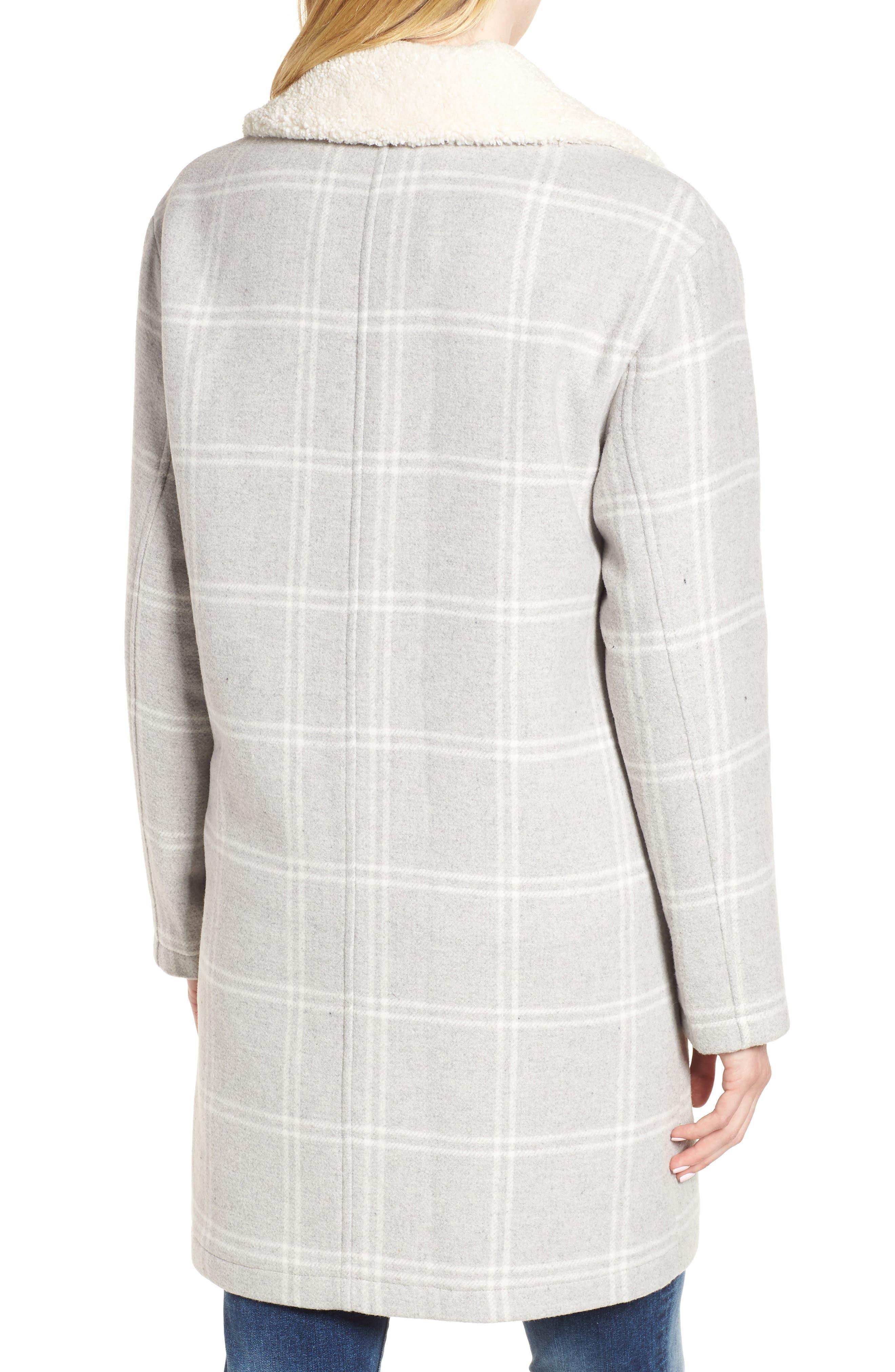 Wool Top Coat,                             Alternate thumbnail 2, color,                             GREY PLAID WOOL
