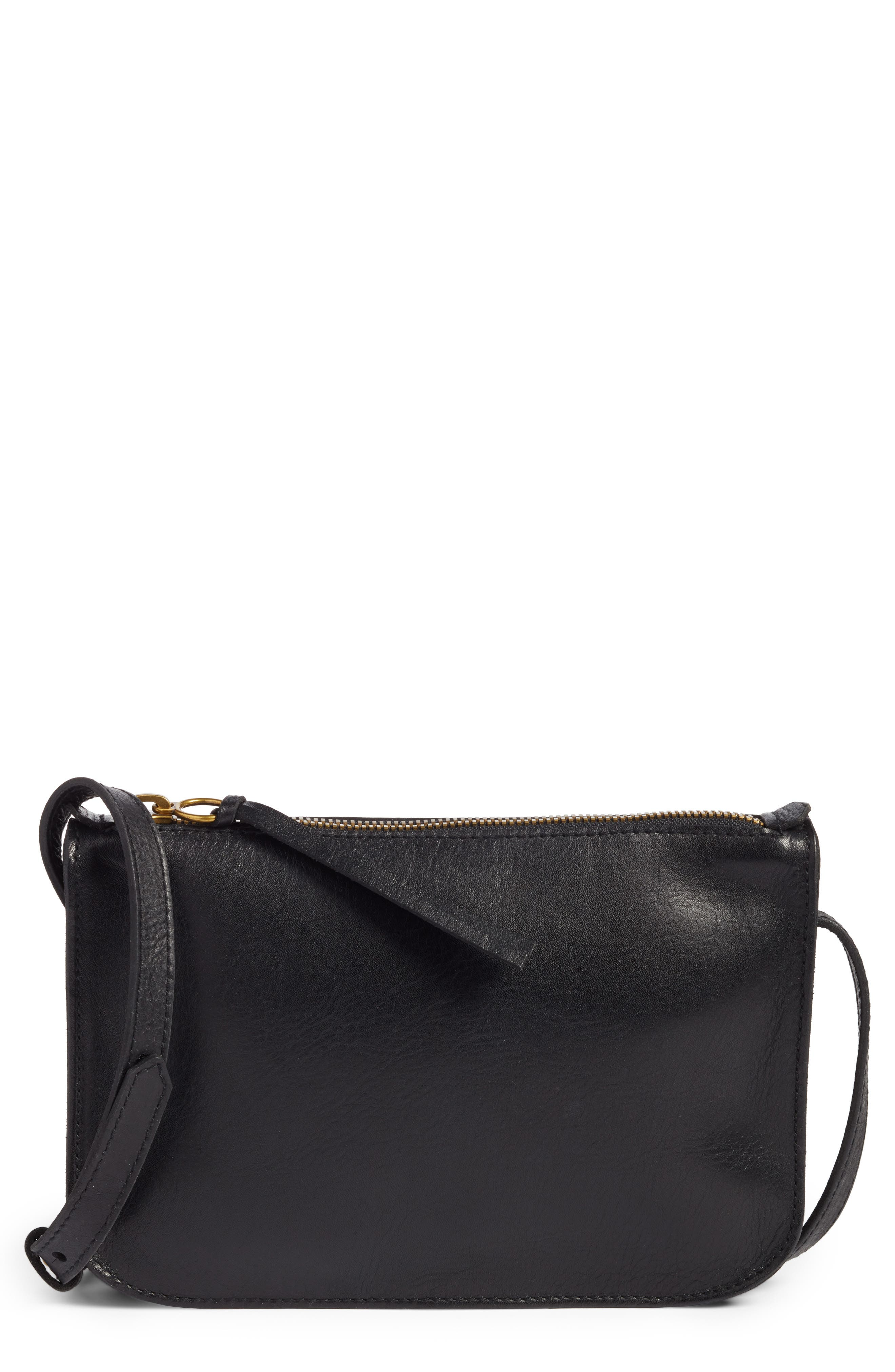 The Simple Leather Crossbody Bag,                             Main thumbnail 1, color,                             TRUE BLACK