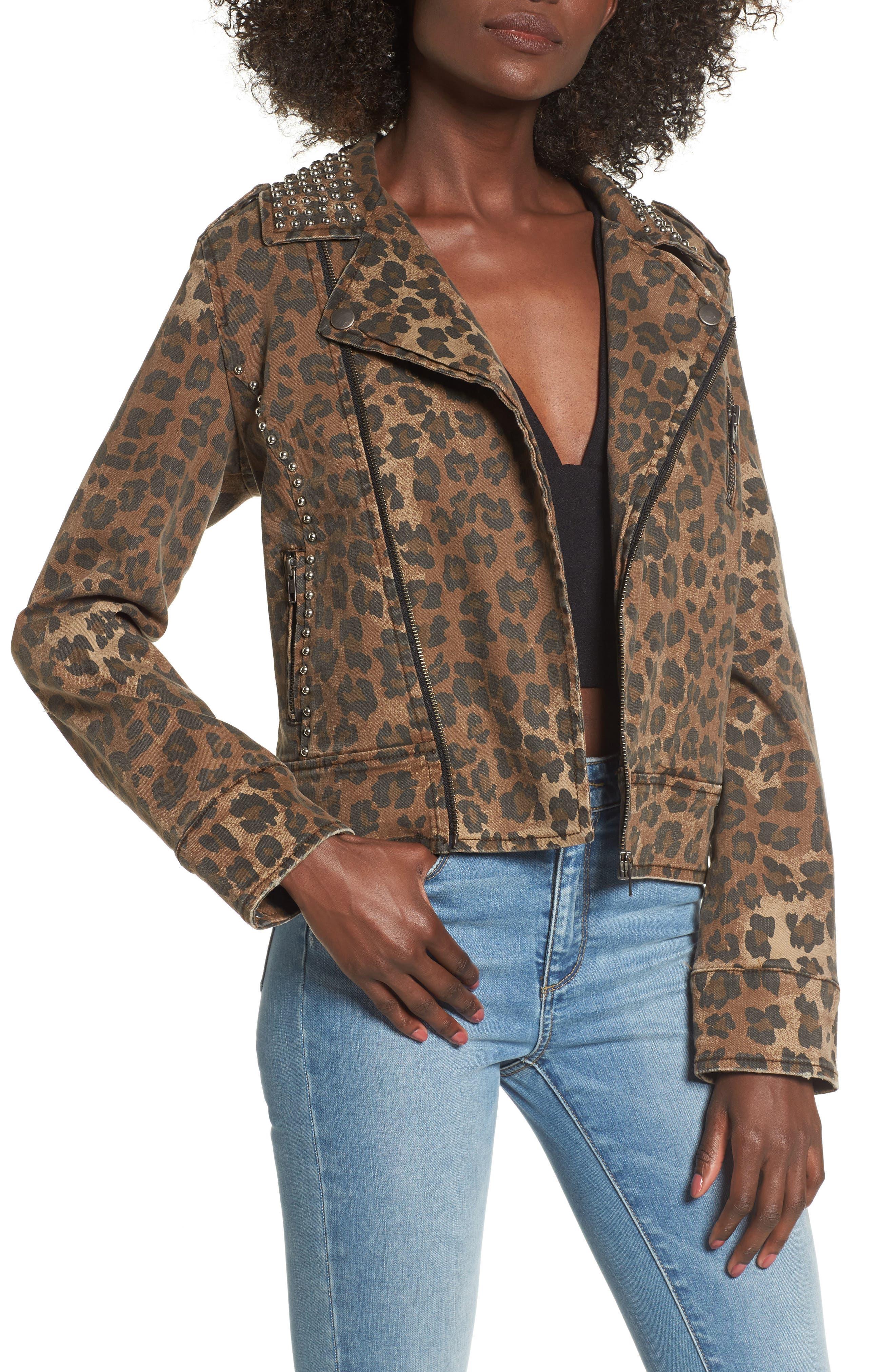 AFRM Studded Leopard Print Moto Jacket,                             Main thumbnail 1, color,
