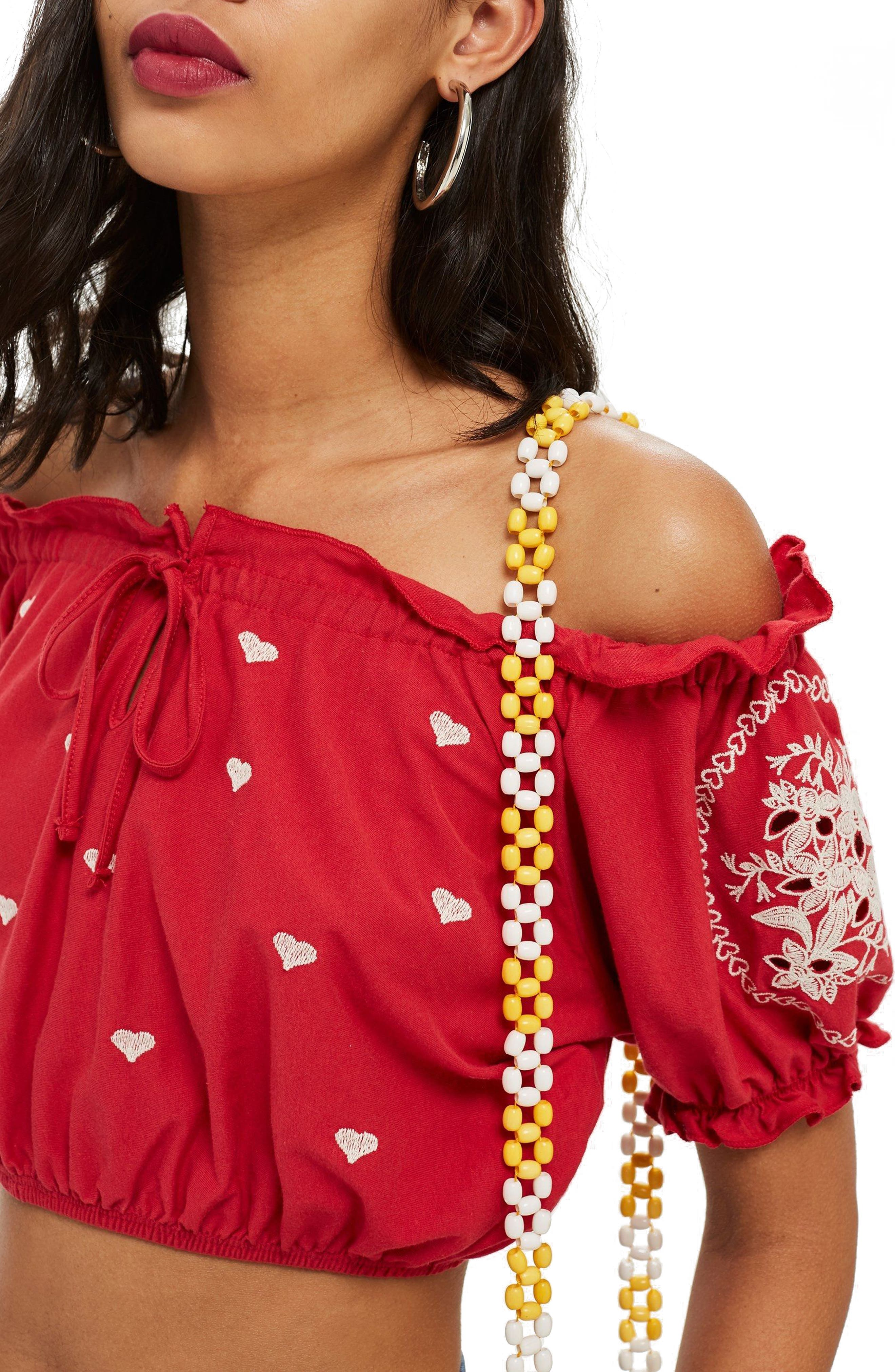 Gypsy Embroidered Crop Top,                         Main,                         color, RED MULTI