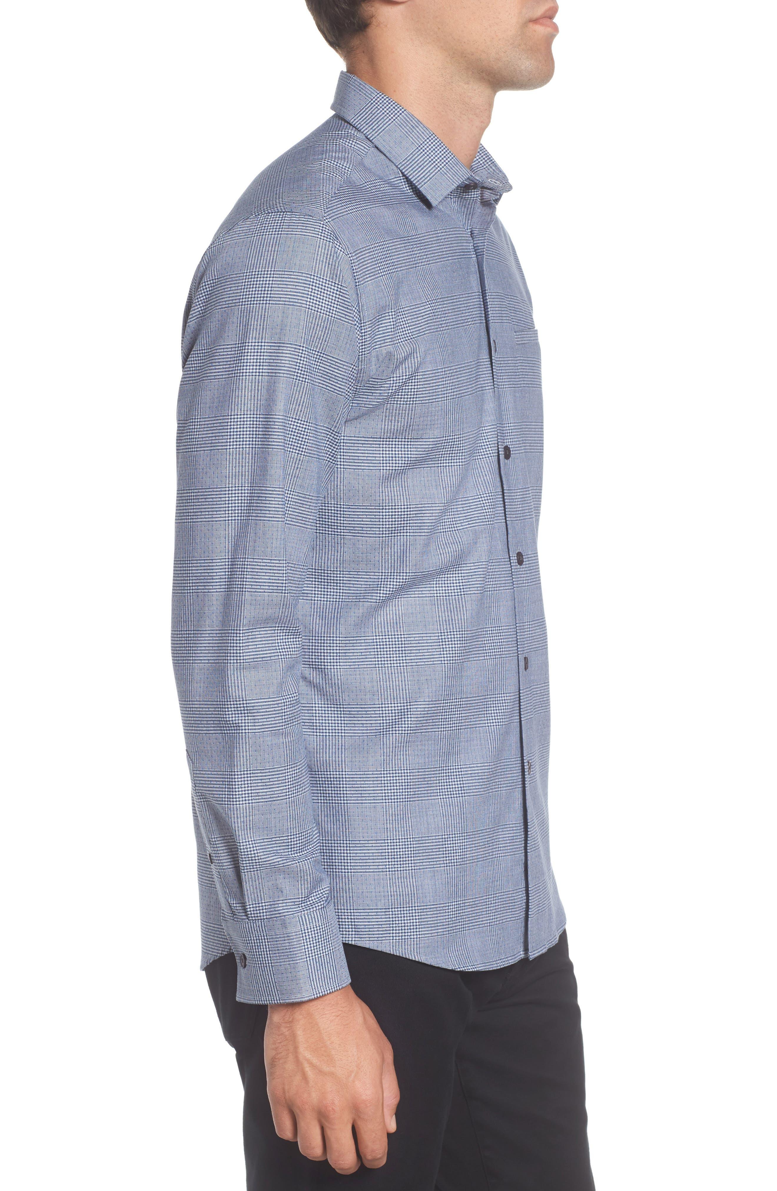 Hacking Slim Fit Glen Plaid Sport Shirt,                             Alternate thumbnail 3, color,                             420