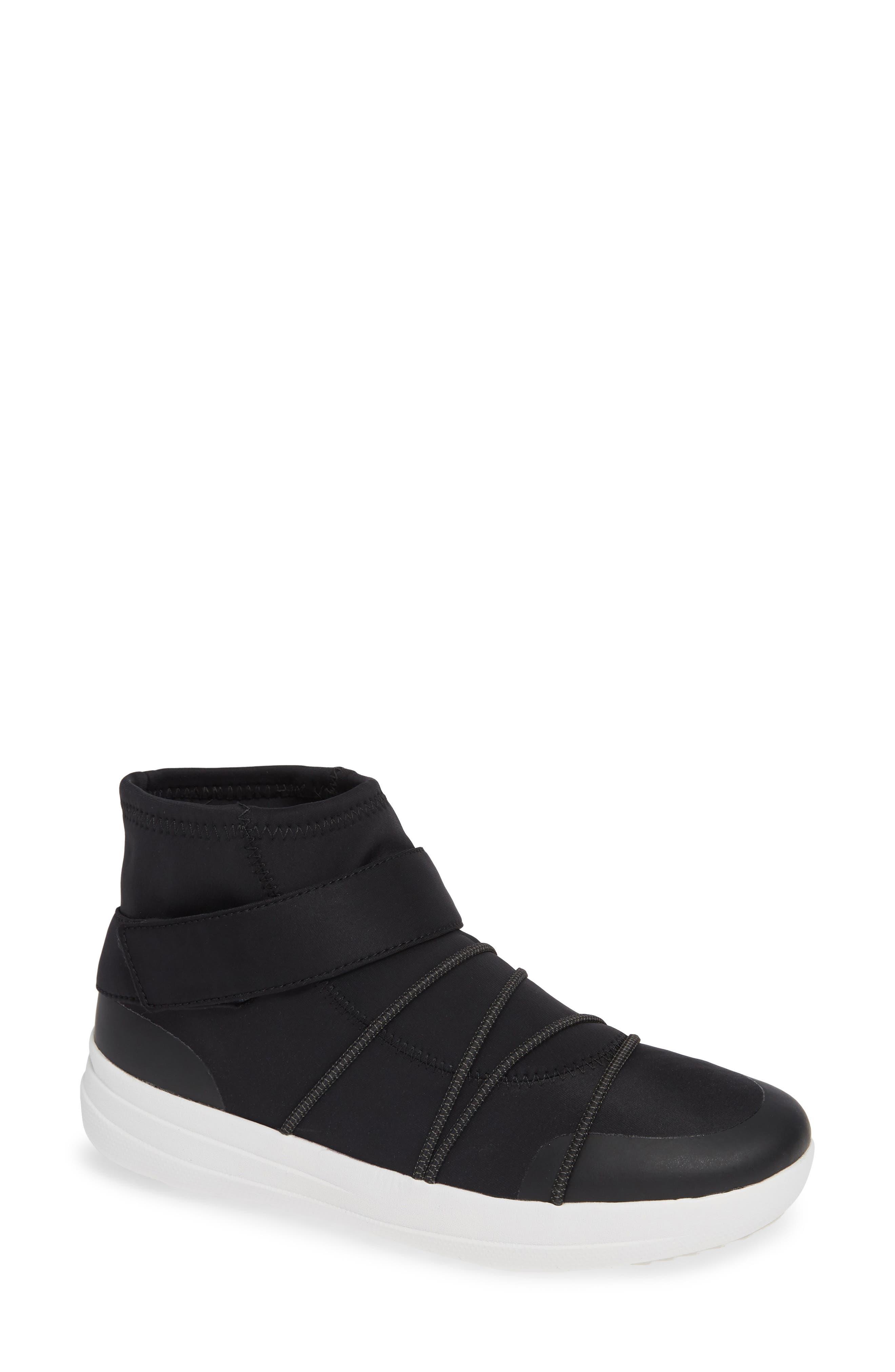 Neoflex High Top Sneaker,                             Main thumbnail 1, color,                             BLACK FABRIC