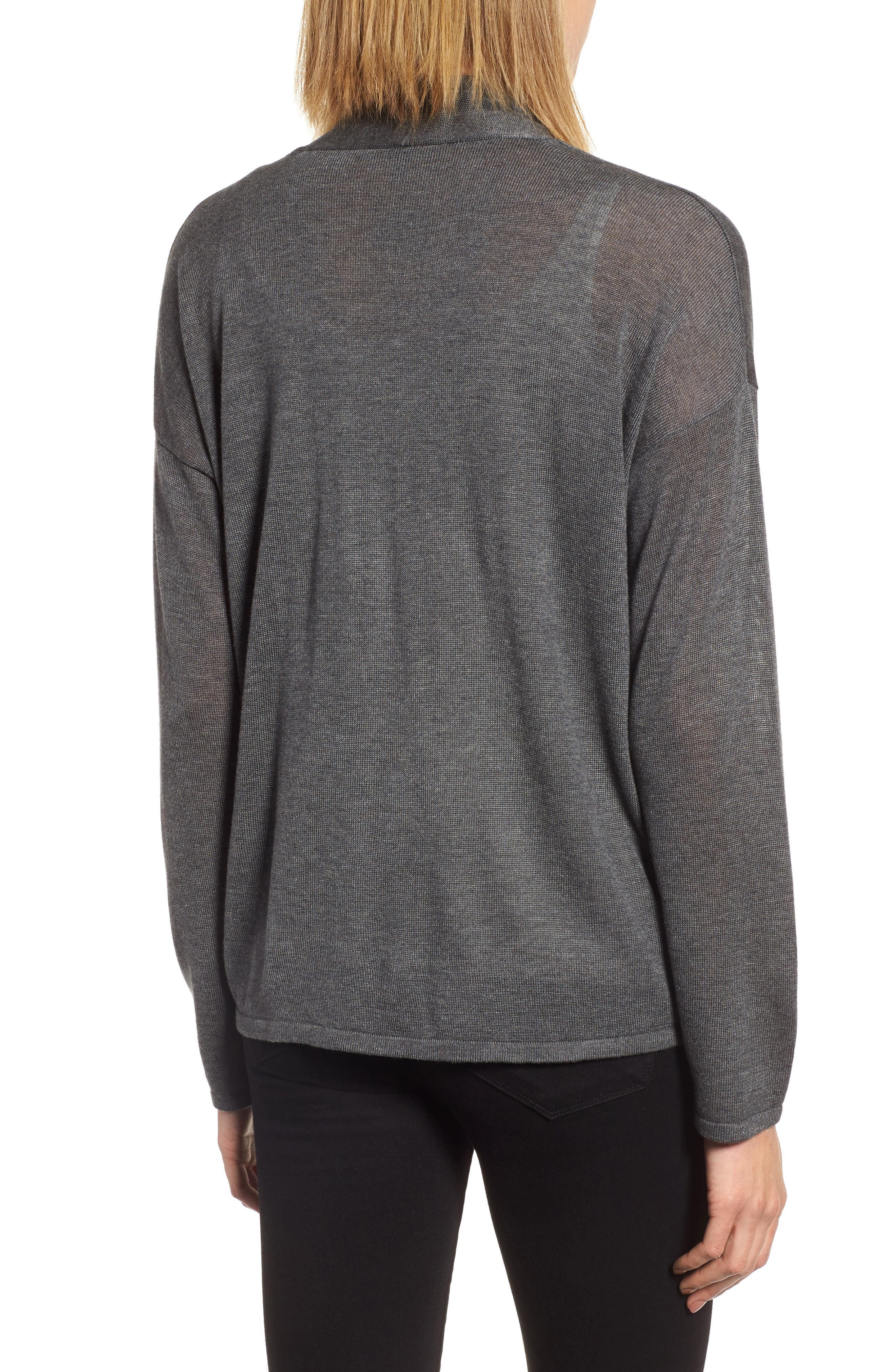Faux Wrap Tencel<sup>®</sup> Lyocell & Merino Wool Sweater,                             Alternate thumbnail 5, color,