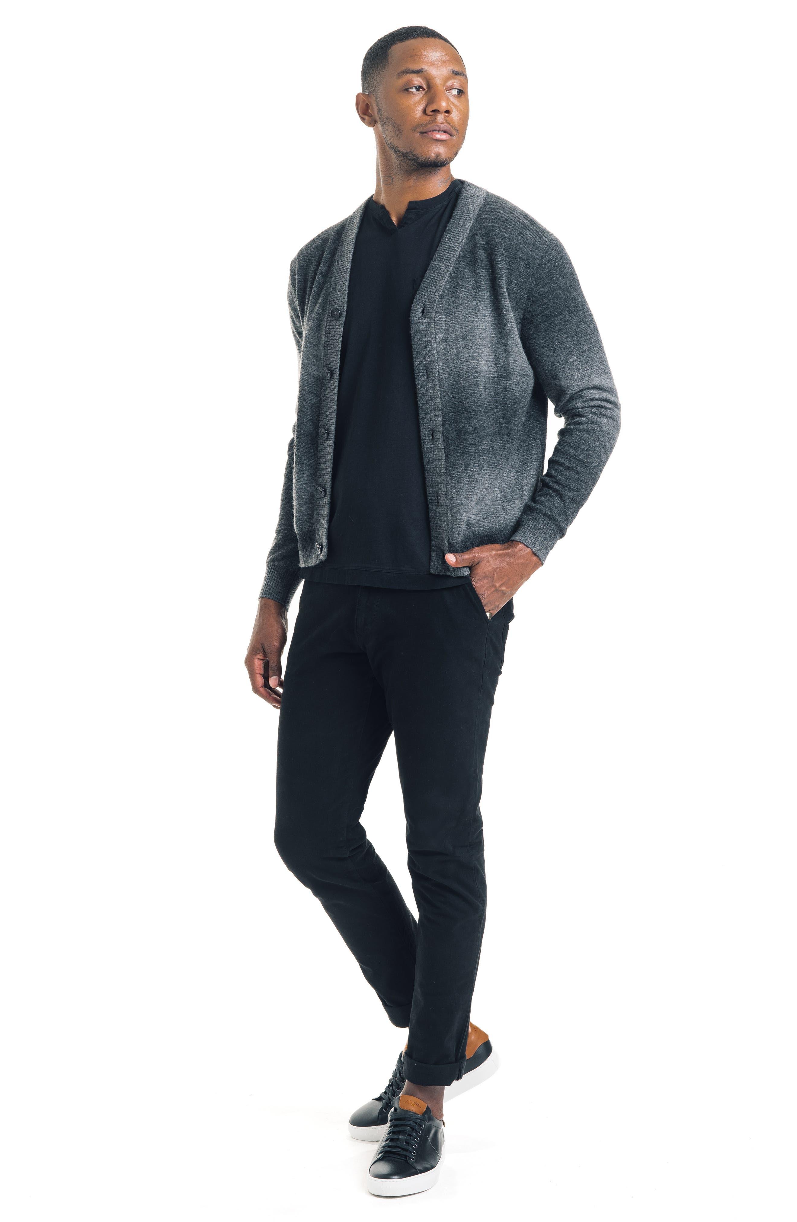 Modern Slim Fit Merino Wool Blend Cardigan,                             Alternate thumbnail 4, color,                             BLACK / GREY