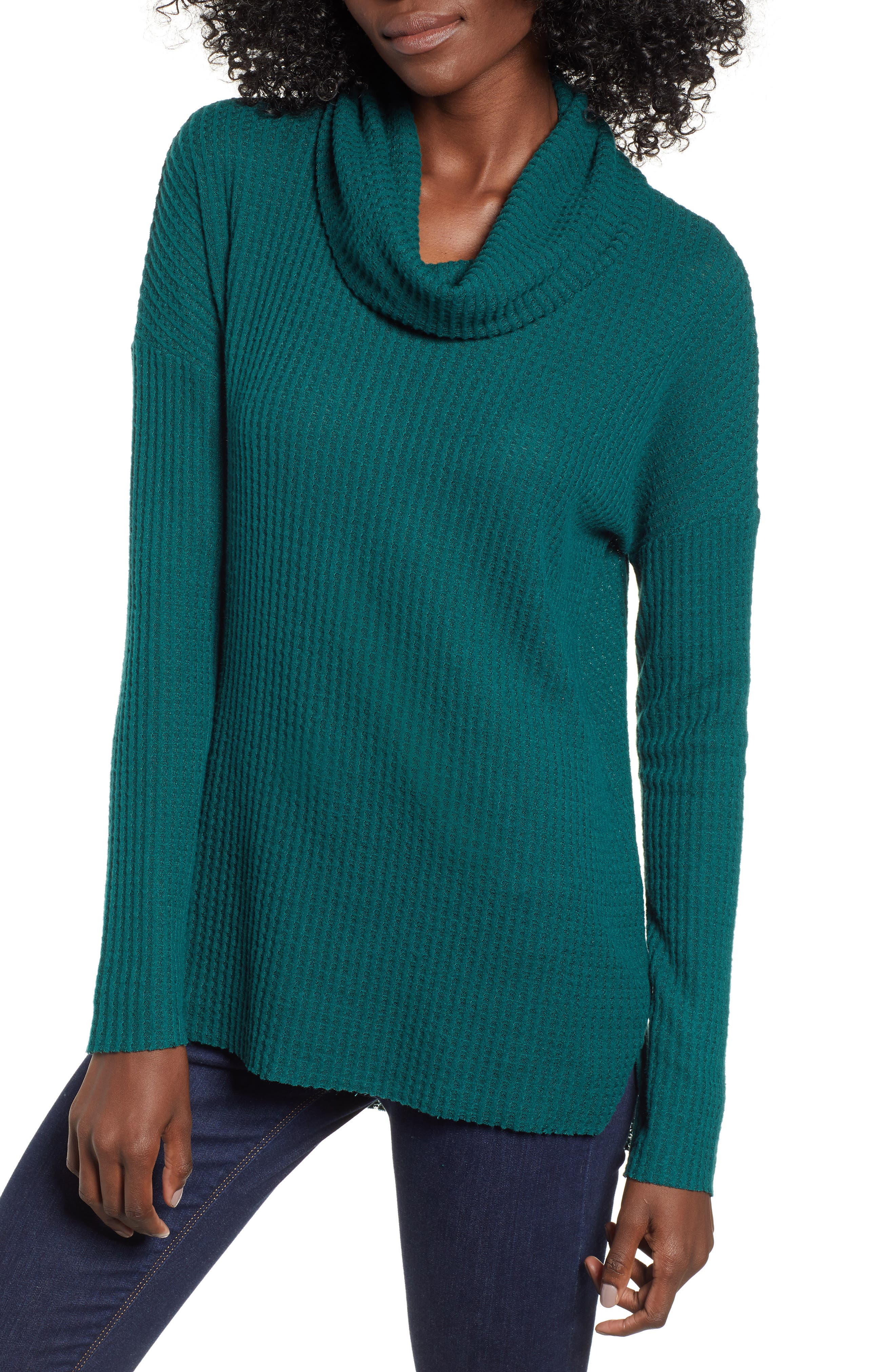 Funnel Neck Tunic,                         Main,                         color, GREEN BOTANICAL