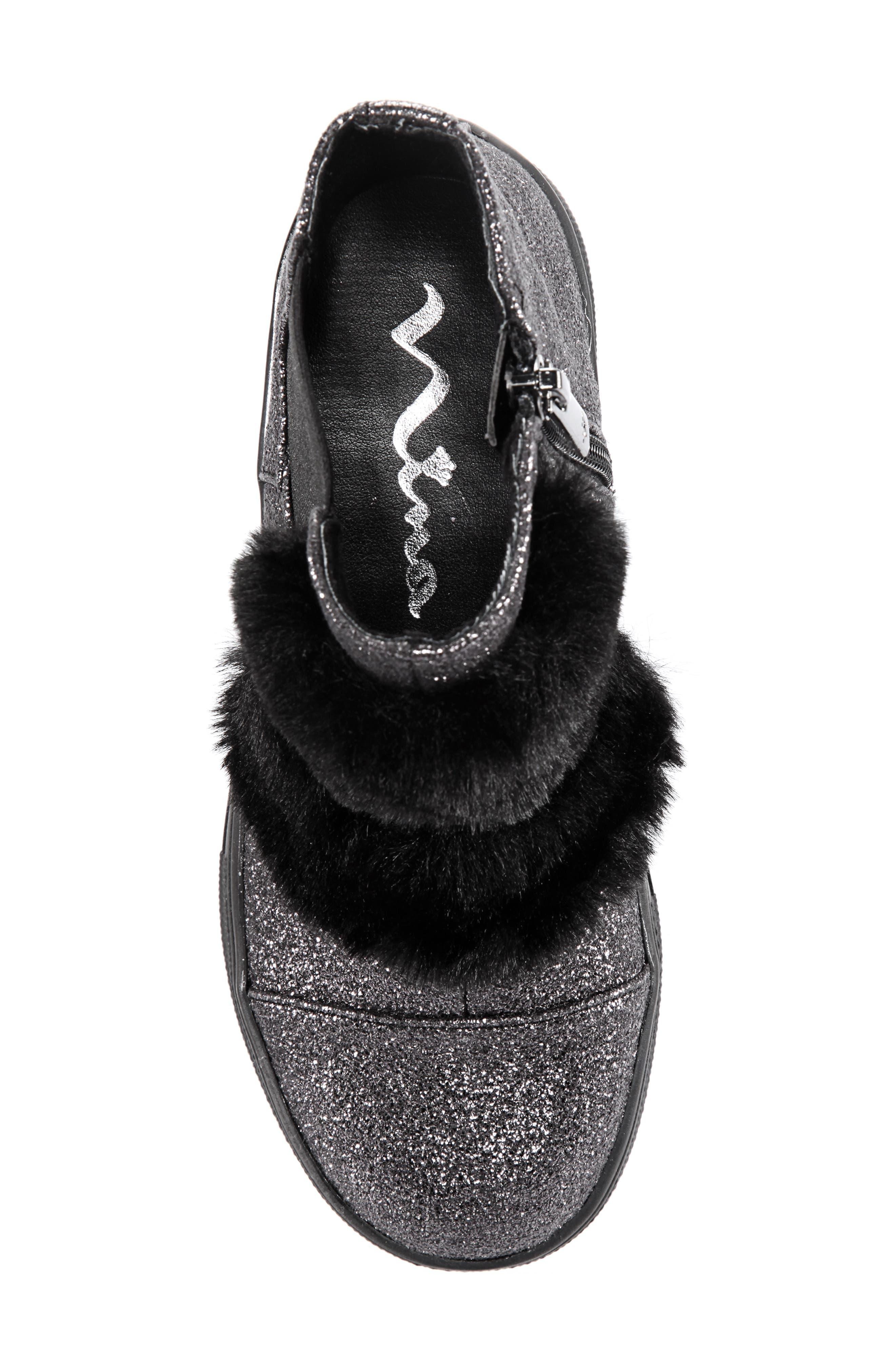 Helen Faux Fur Bootie Sneaker,                             Alternate thumbnail 5, color,                             PEWTER CRACKLE METALLIC