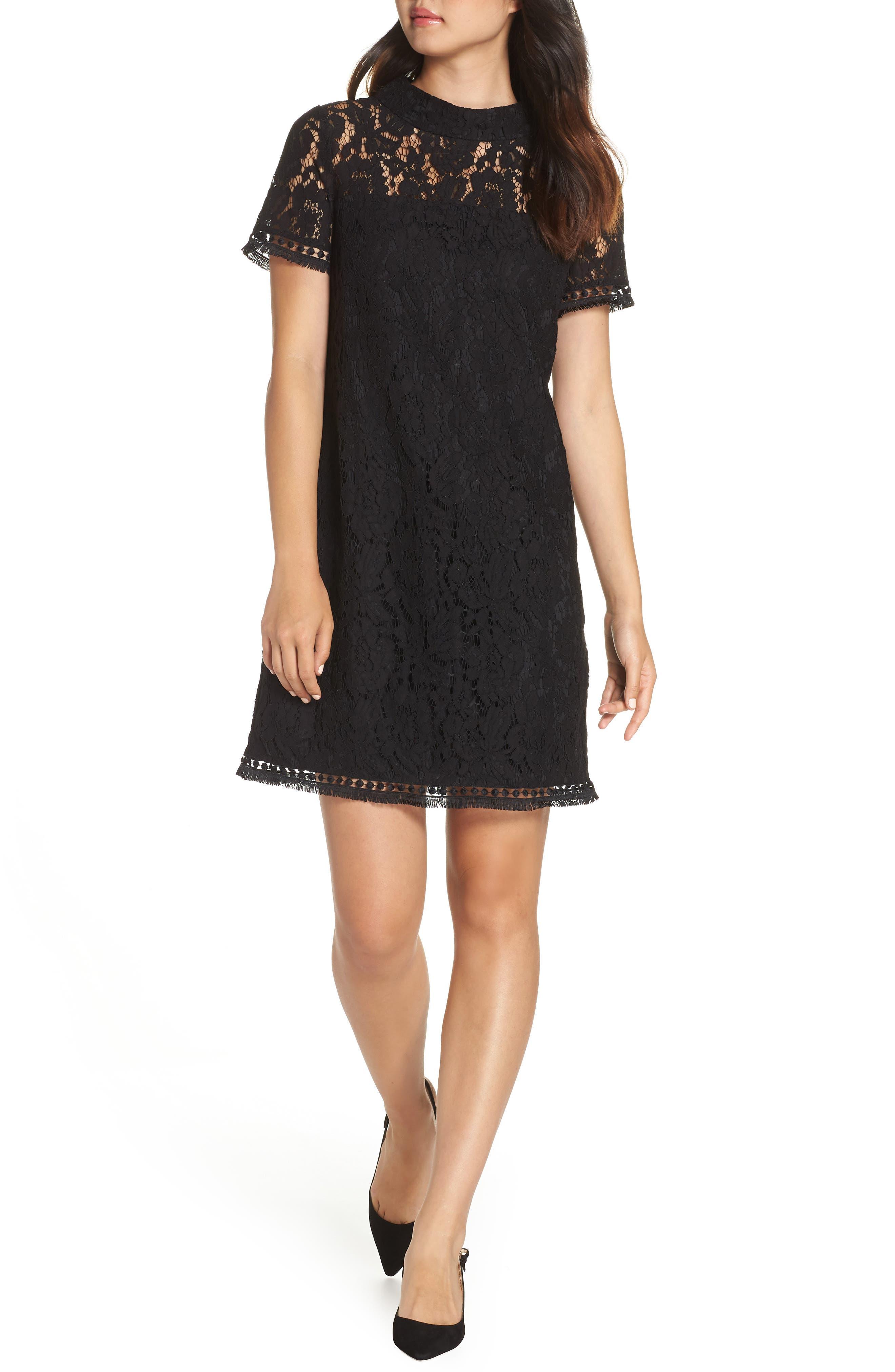 High Neck Lace Shift Dress,                             Main thumbnail 1, color,                             BLACK