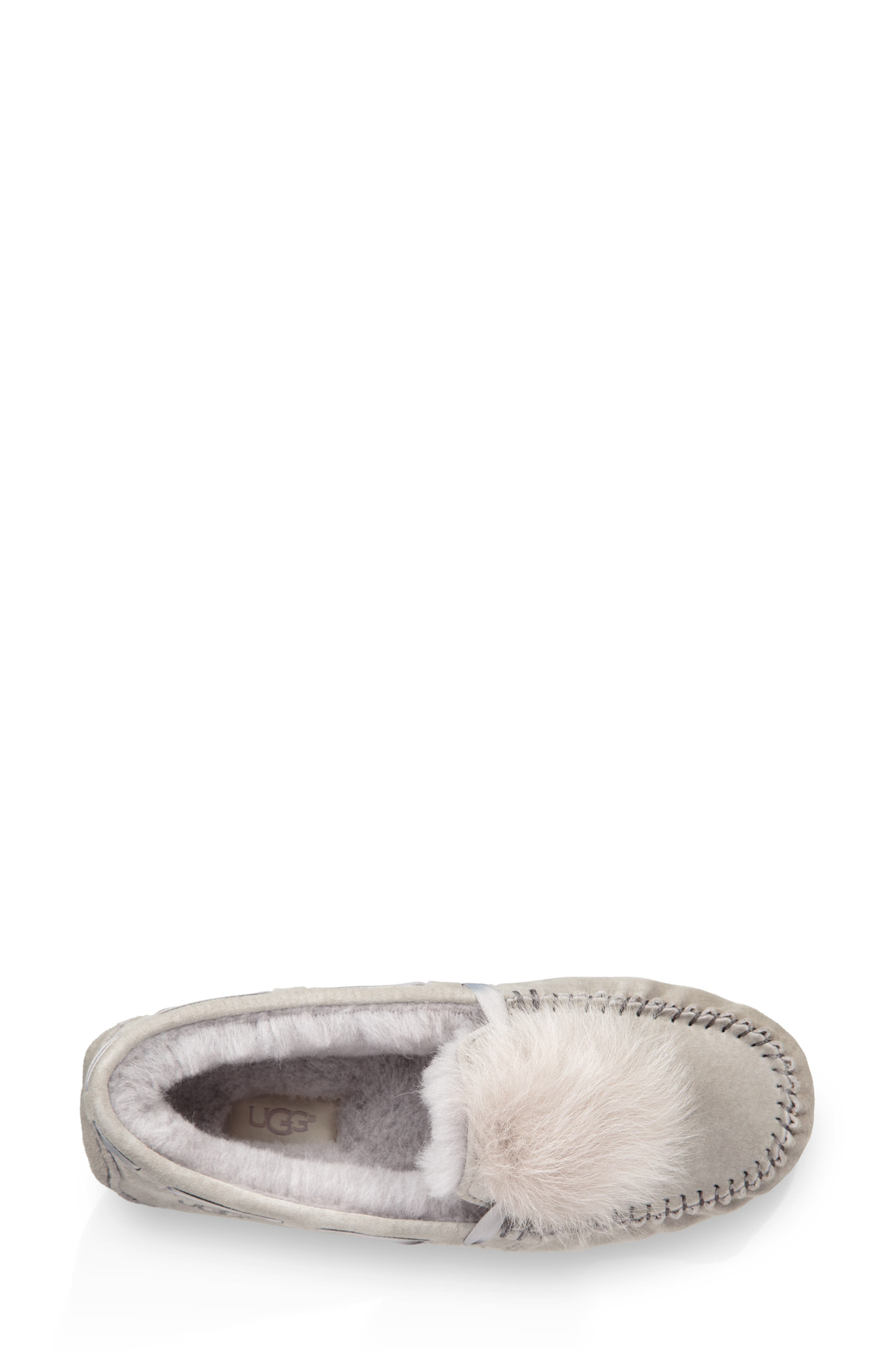 Dakota Water Resistant Genuine Shearling Pompom Slipper,                             Alternate thumbnail 4, color,                             SEAL