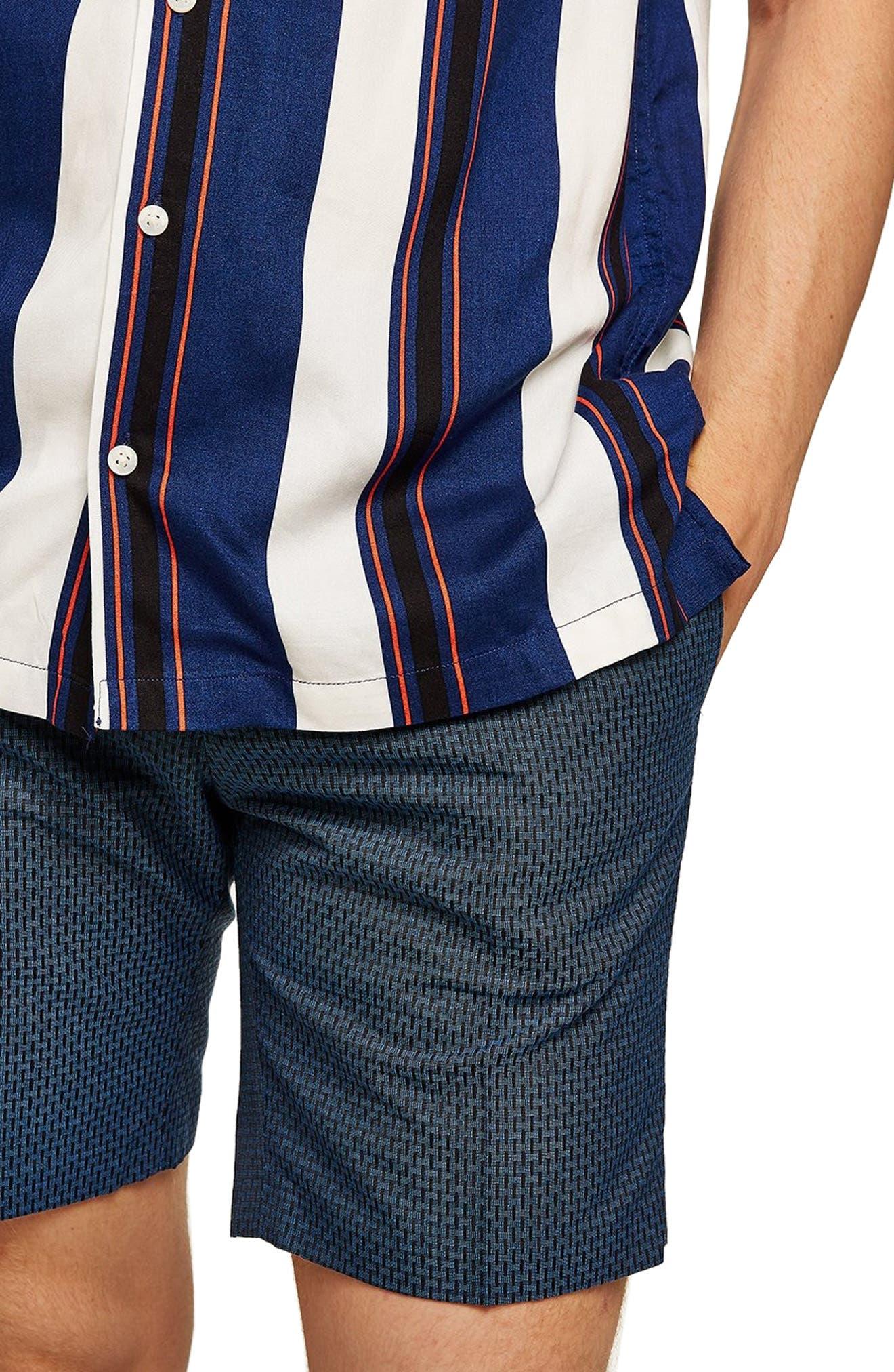 Mini Check Classic Fit Shorts,                             Main thumbnail 1, color,                             BLUE