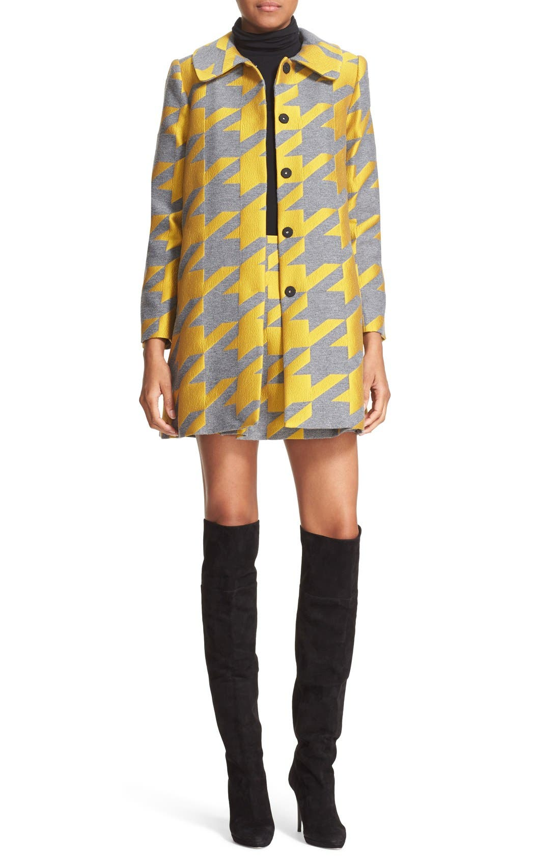 ALICE + OLIVIA,                             'Connor' Oversize Houndstooth Lampshade Skirt,                             Alternate thumbnail 3, color,                             700