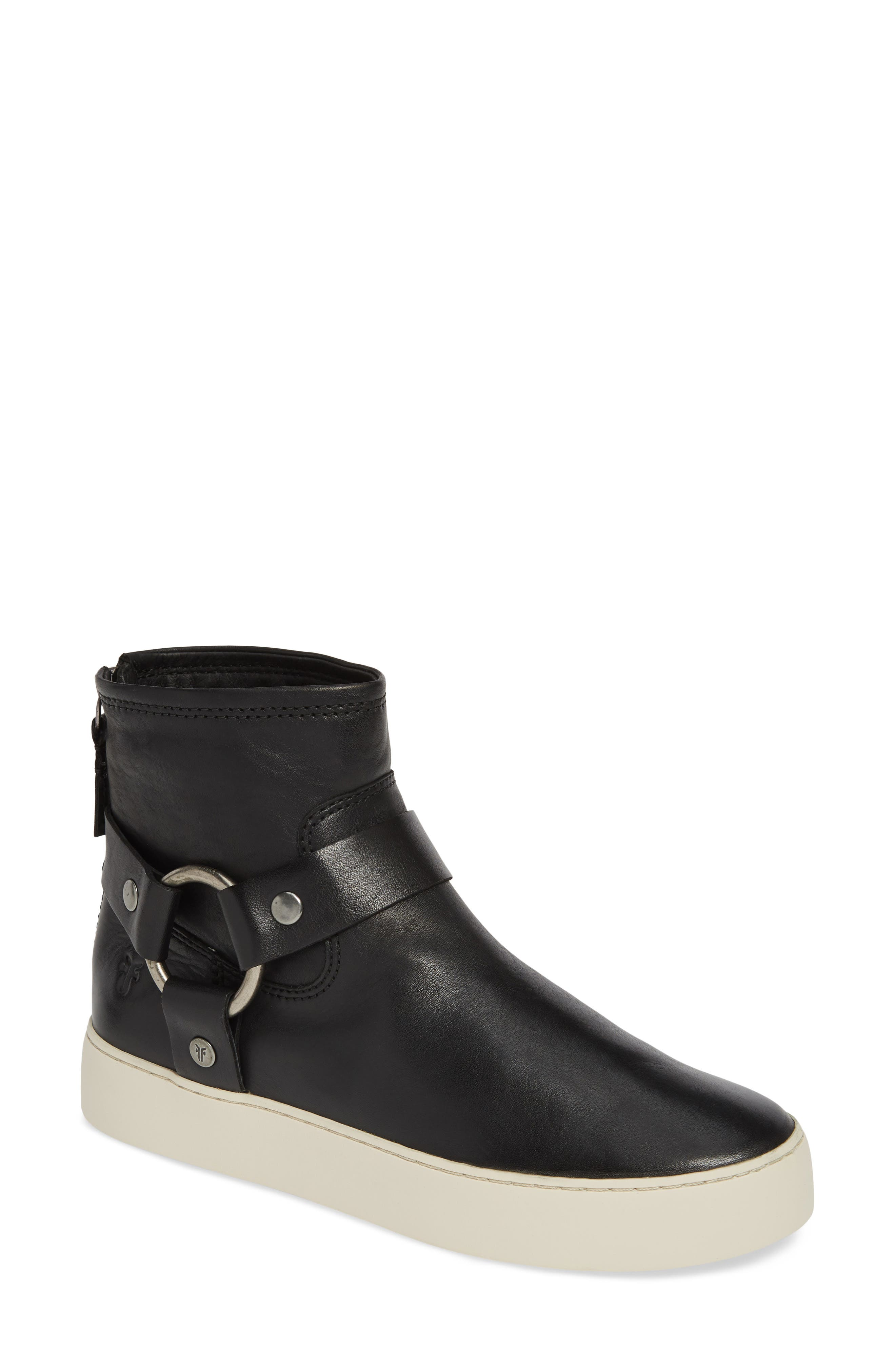 FRYE Lena Harness Bootie, Main, color, BLACK LEATHER
