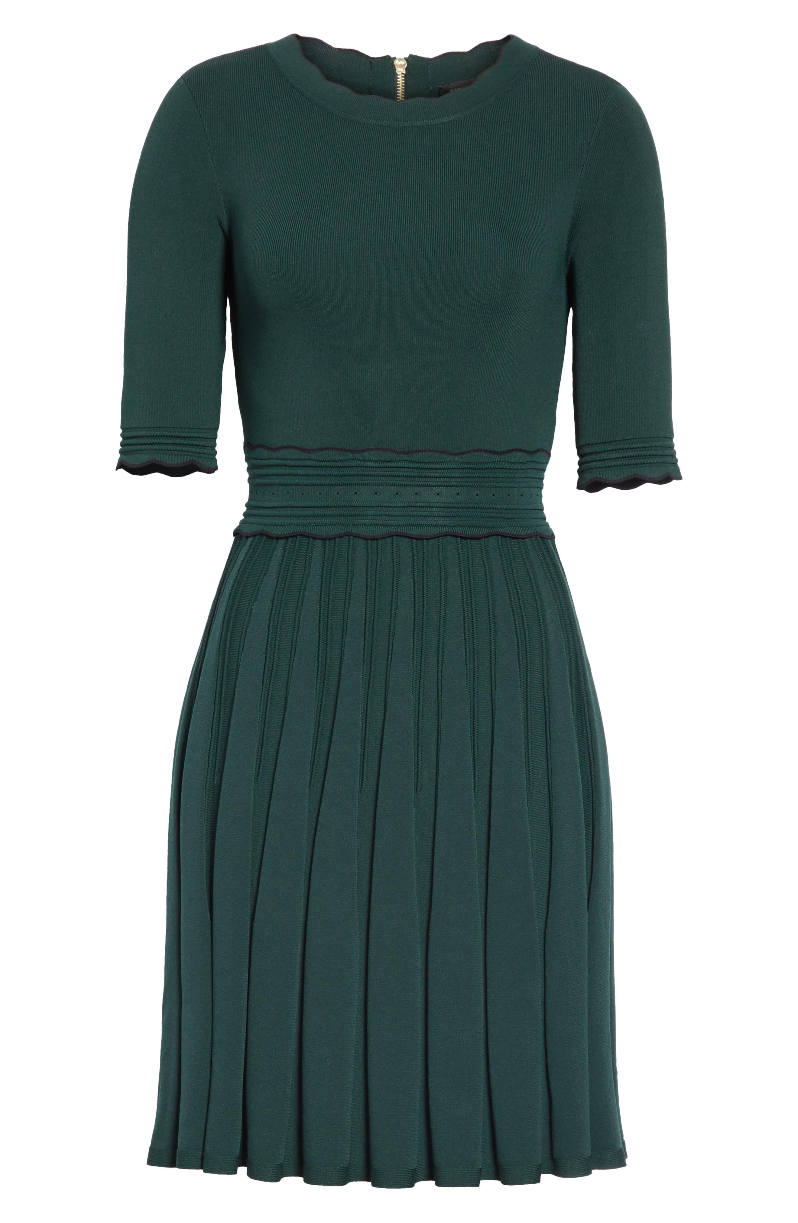Dorlean Knit Dress,                             Alternate thumbnail 6, color,                             DARK GREEN
