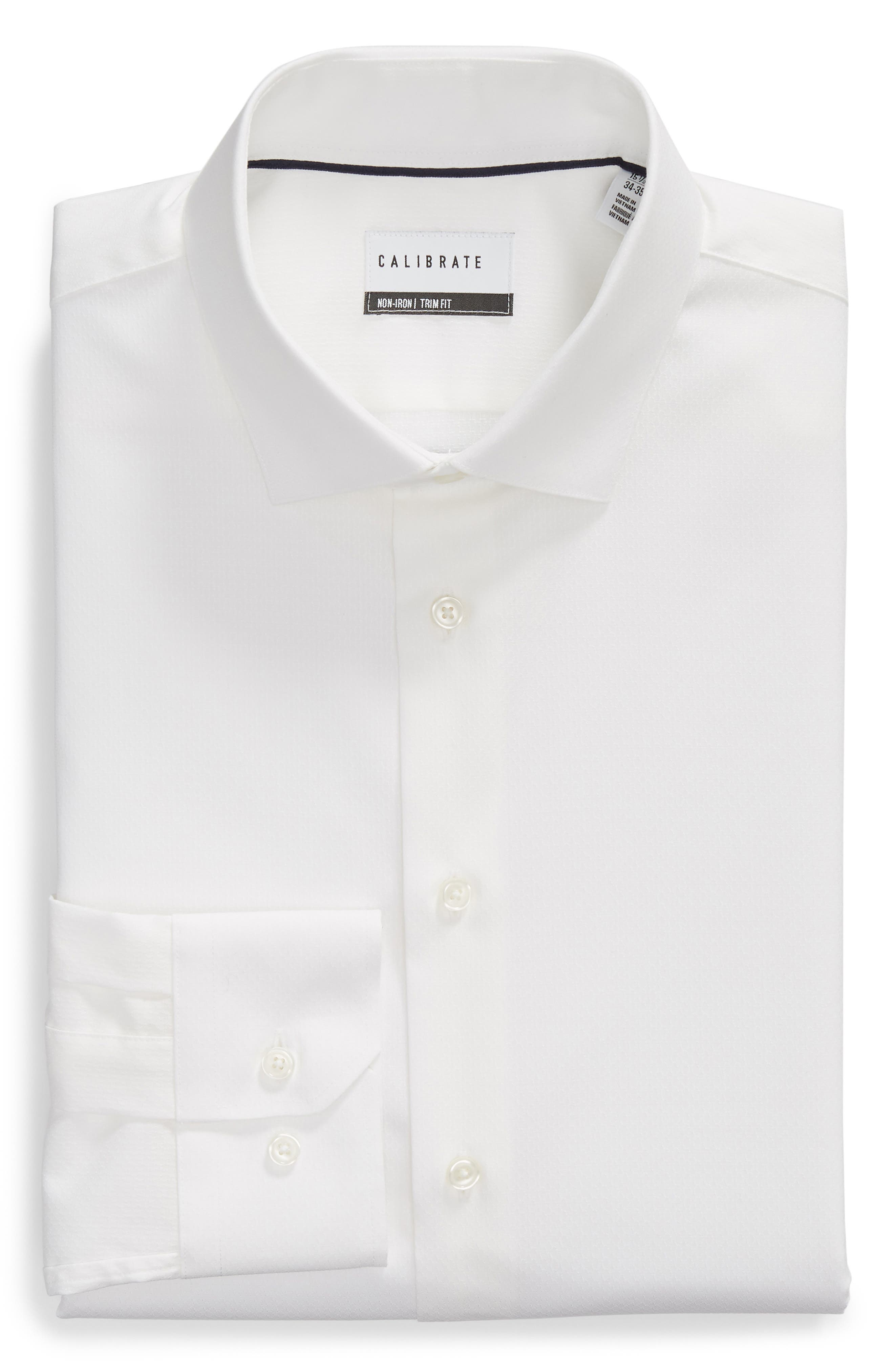 Trim Fit Stretch Solid Dress Shirt,                             Alternate thumbnail 5, color,                             WHITE