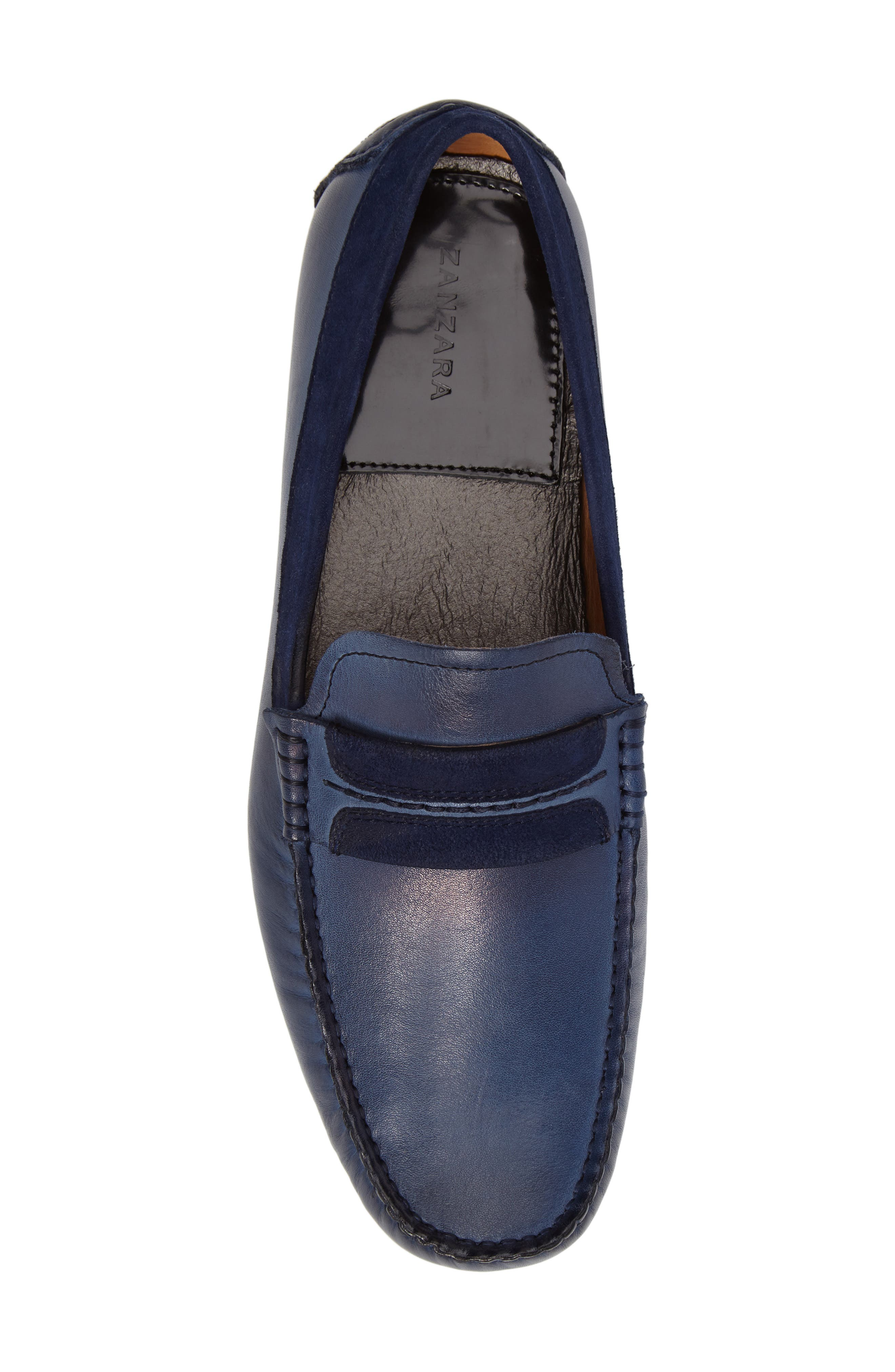 ZANZARA,                             Francesca Driving Shoe,                             Alternate thumbnail 5, color,                             BLUE LEATHER