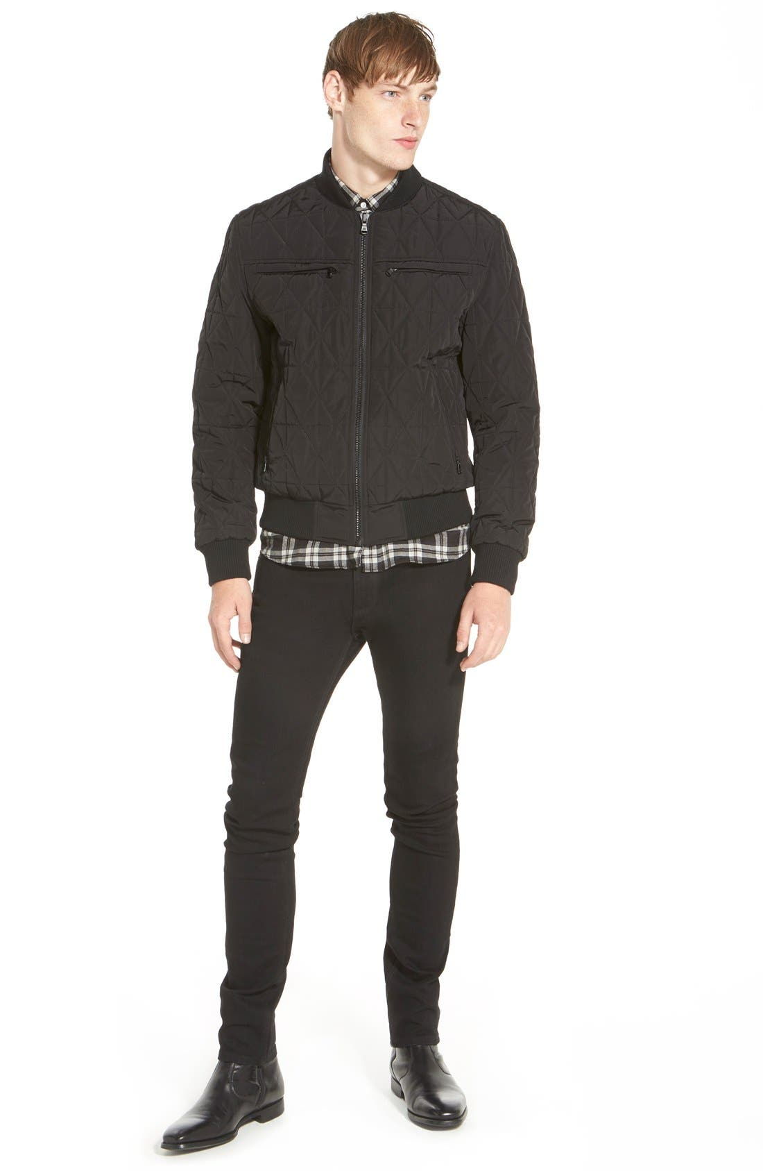 Diamond Quilted Zip Front Jacket,                             Alternate thumbnail 3, color,                             001