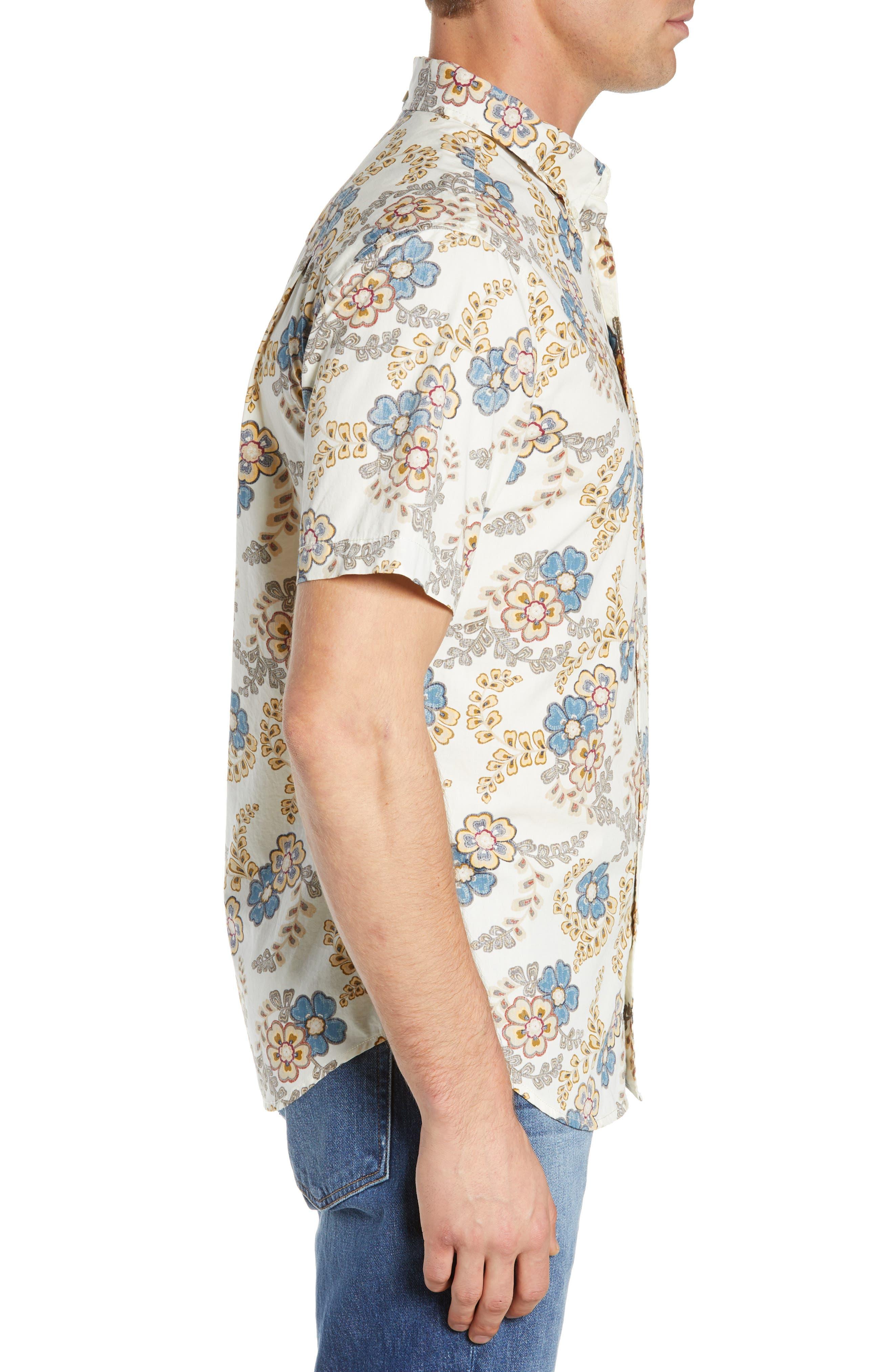Regular Fit Furoshiki Floral Sport Shirt,                             Alternate thumbnail 4, color,                             NATURAL