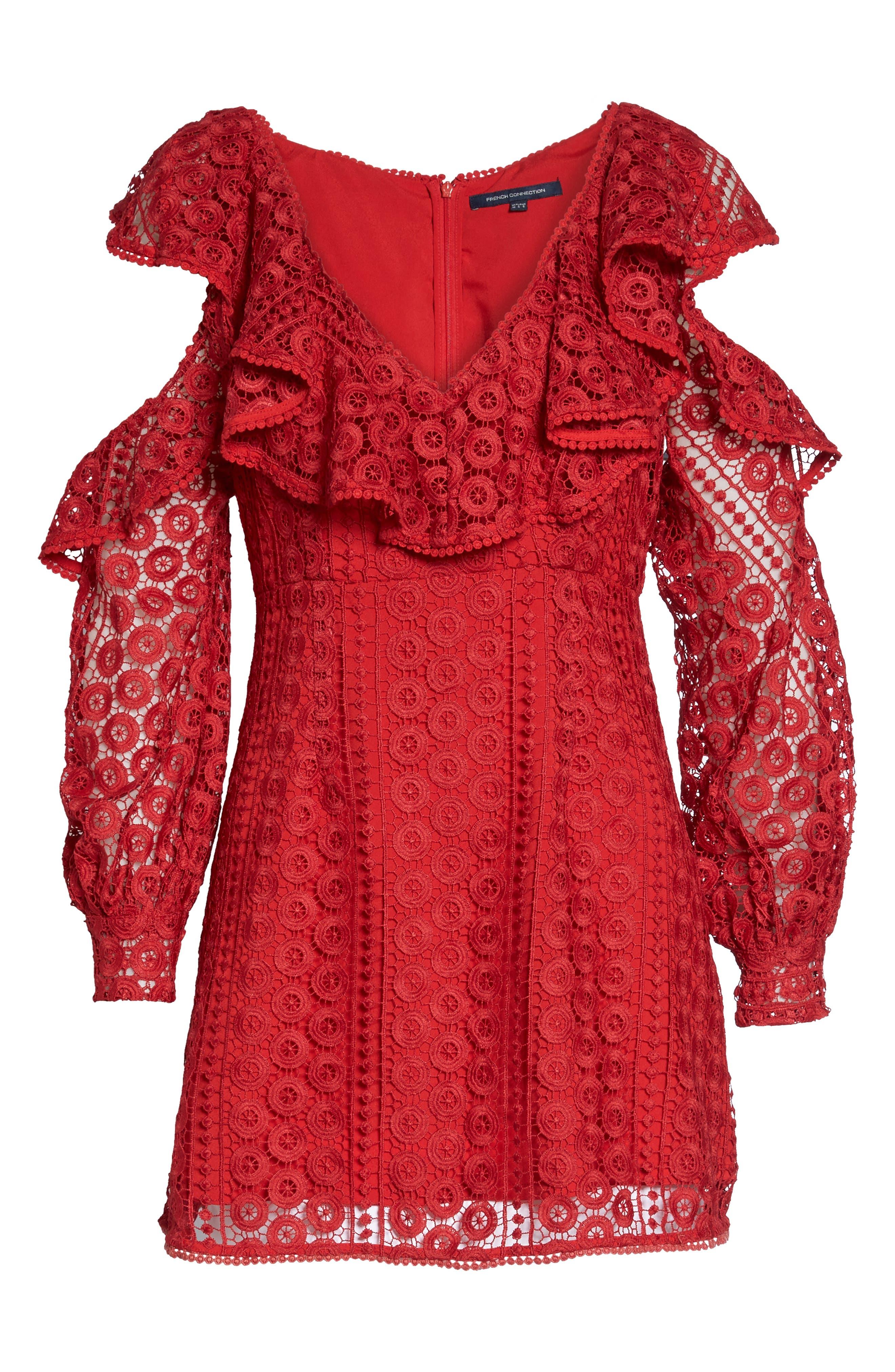Massey Lace Cold Shoulder Minidress,                             Alternate thumbnail 6, color,                             625