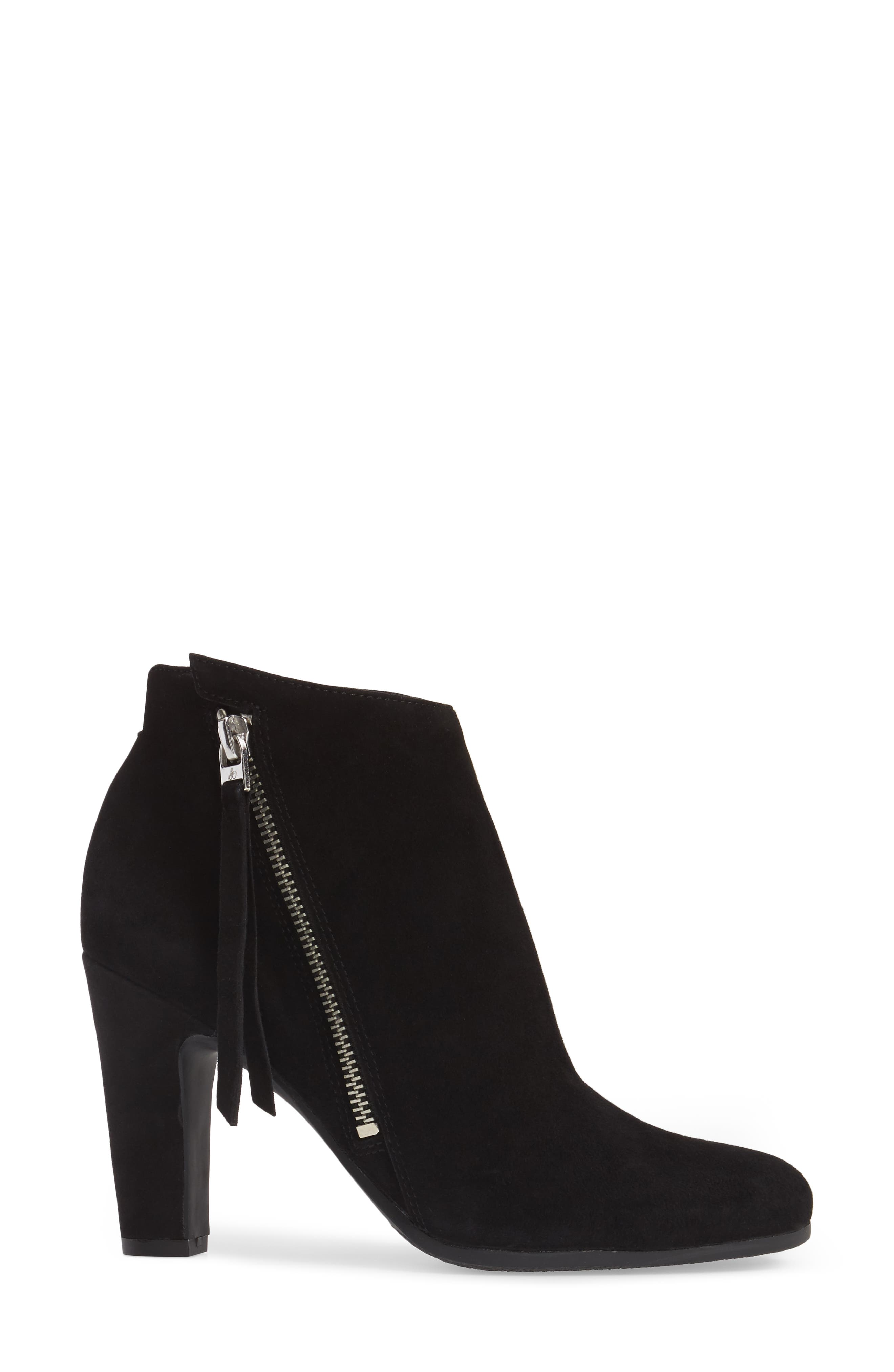Sadee Angle Zip Bootie,                             Alternate thumbnail 3, color,                             BLACK SUEDE
