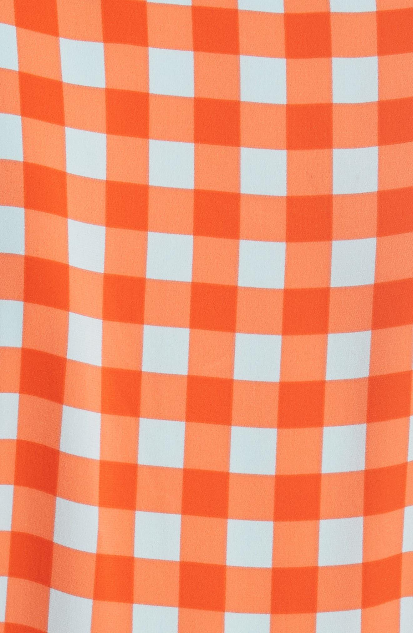 Check Ruffle Hem Wrap Dress,                             Alternate thumbnail 6, color,                             810