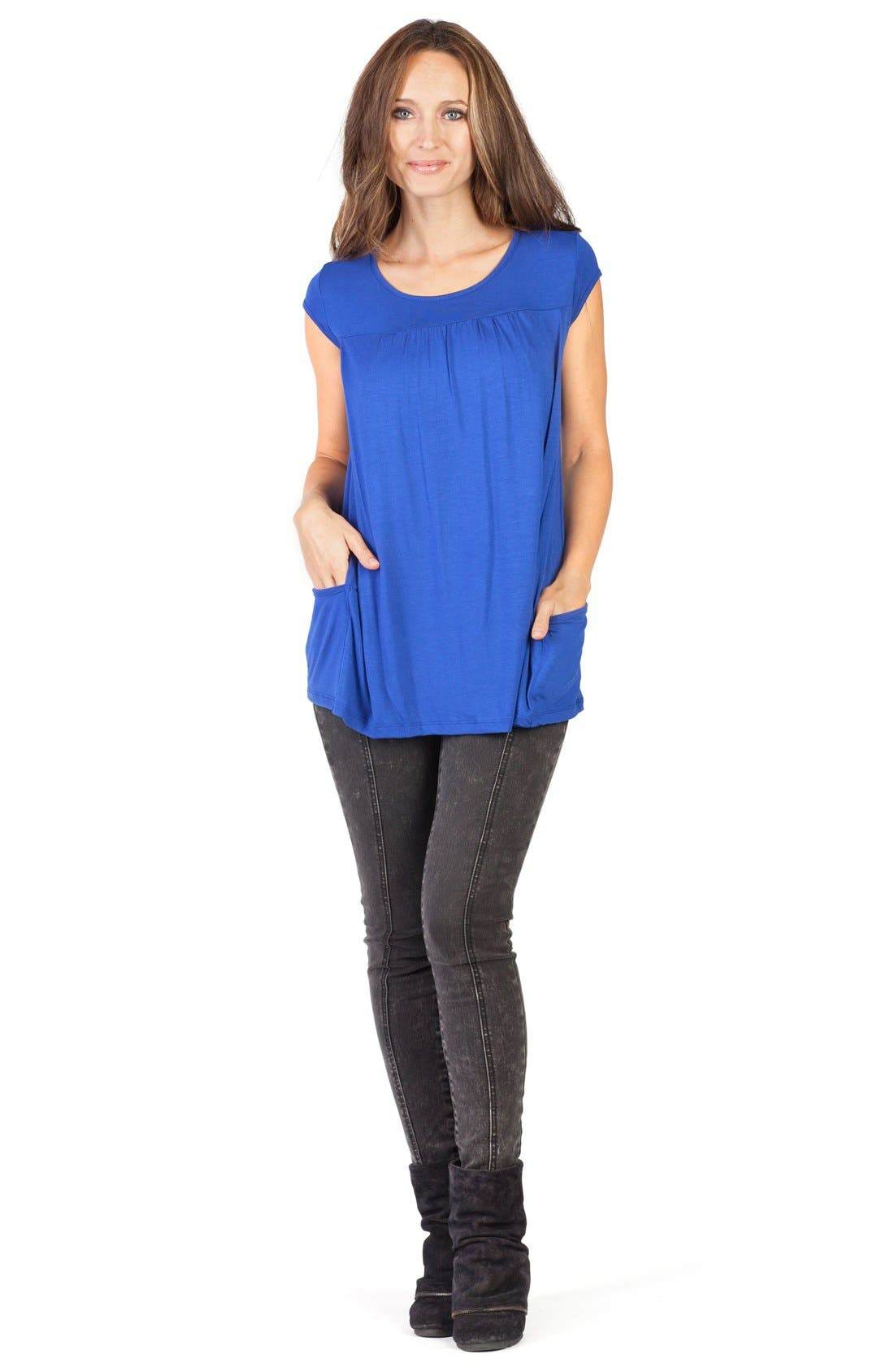 'The Babydoll' Maternity Nursing Top,                             Alternate thumbnail 2, color,                             BLUE