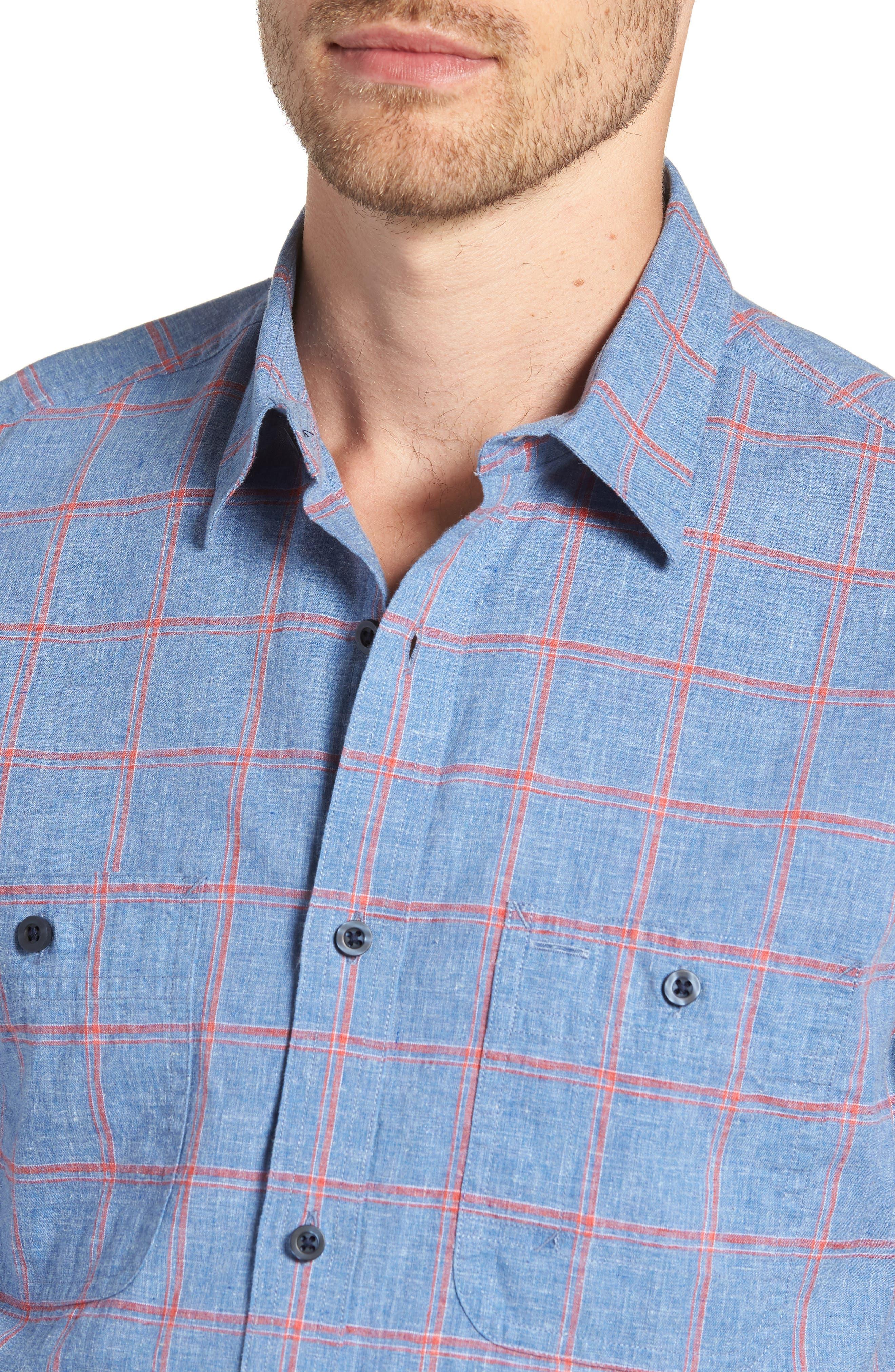 Trim Fit Windowpane Linen & Cotton Sport Shirt,                             Alternate thumbnail 4, color,                             420
