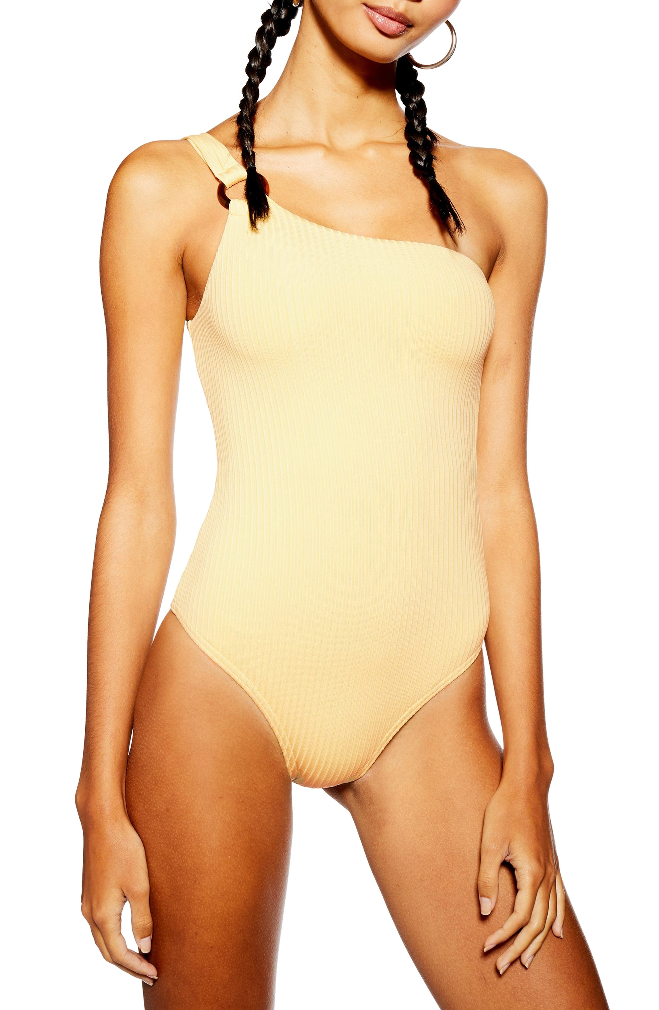 Topshop Ribbed One-Shoulder One-Piece Swimsuit, US (fits like 14) - Yellow