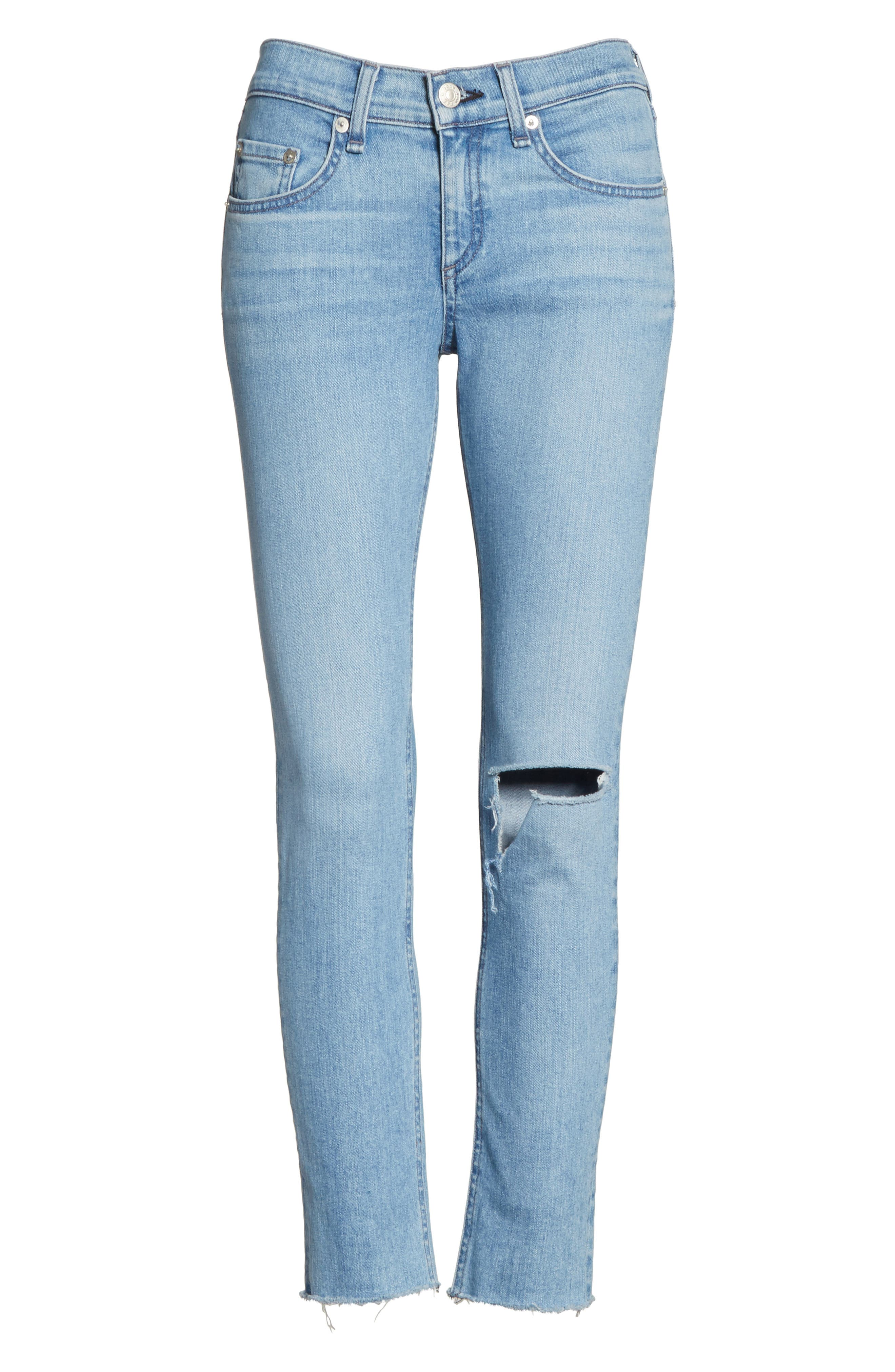 Ripped Ankle Skinny Jeans,                             Alternate thumbnail 6, color,