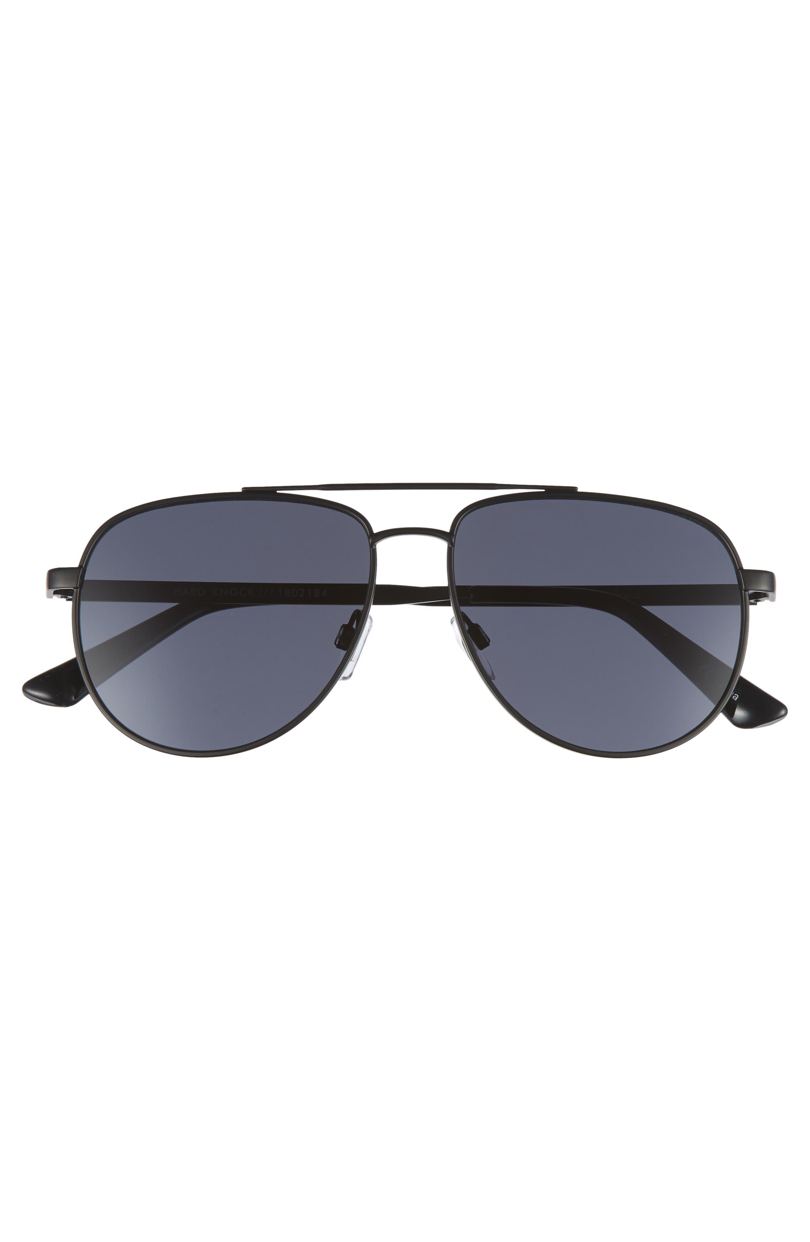 Hard Knock 57mm Aviator Sunglasses,                             Alternate thumbnail 3, color,                             MATTE BLACK