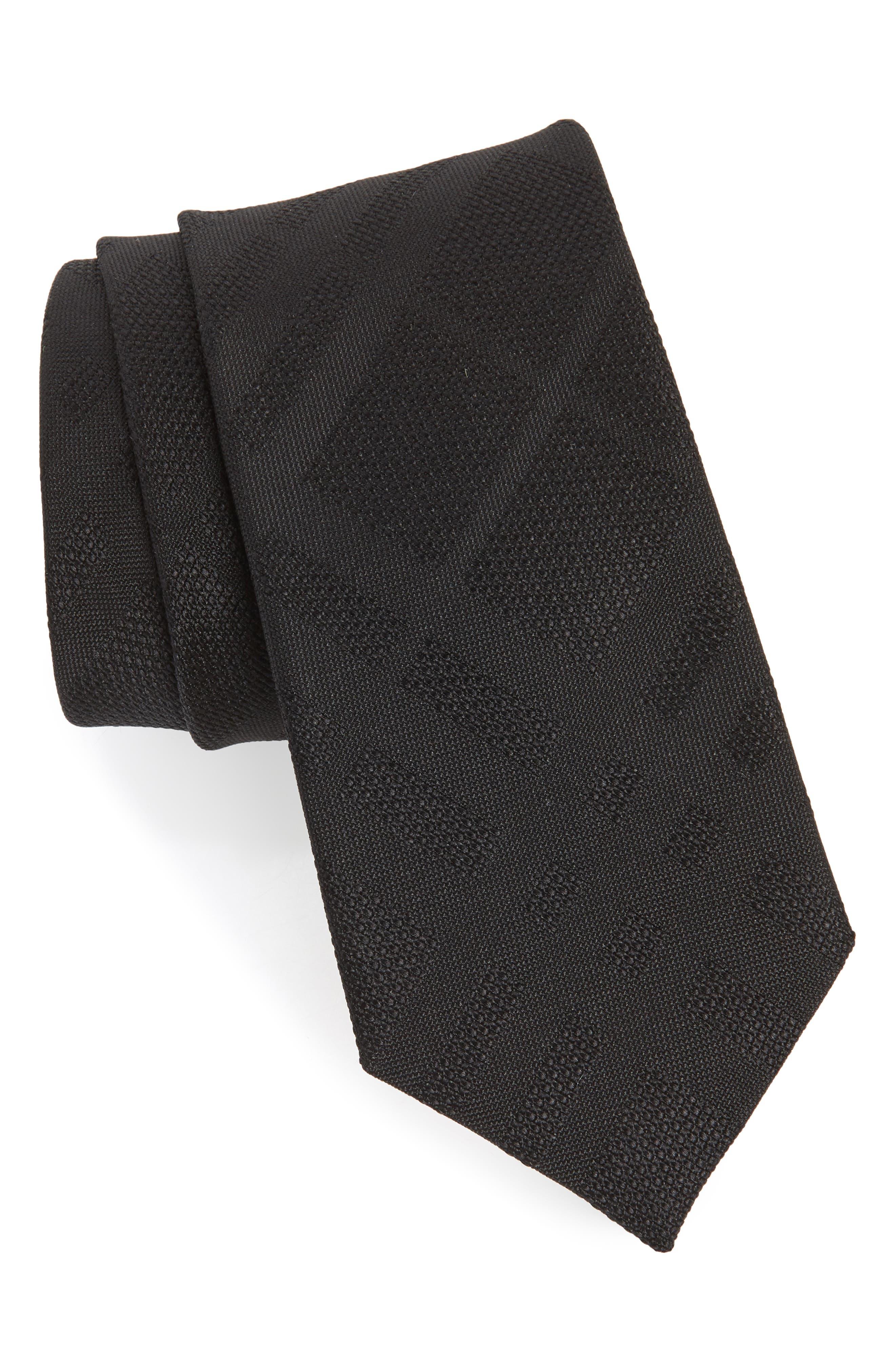 Manston Tonal Check Silk Skinny Tie,                             Main thumbnail 1, color,                             BLACK