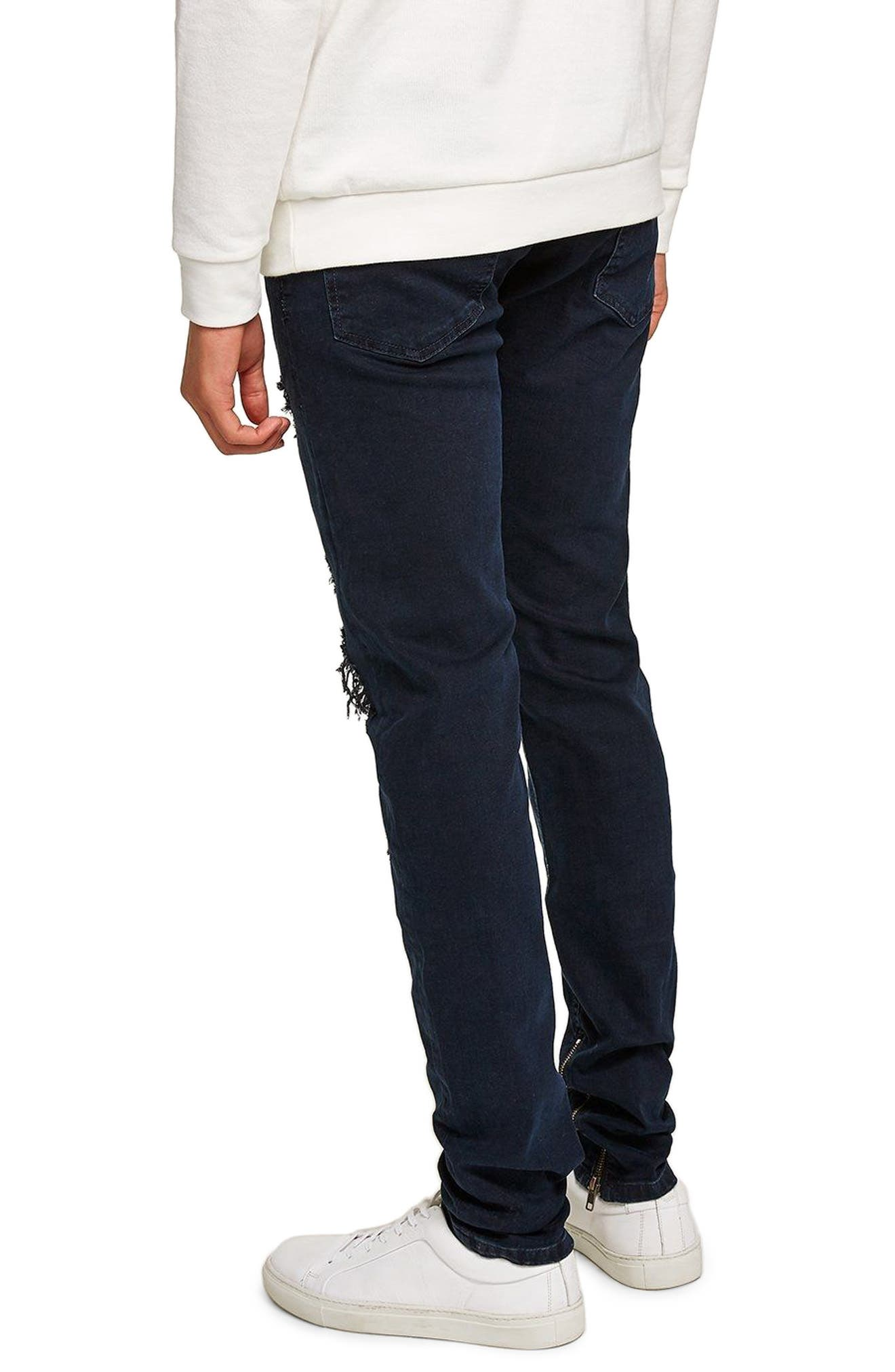 Ripped Stacker Stretch Skinny Fit Jeans,                             Alternate thumbnail 2, color,                             BLUE