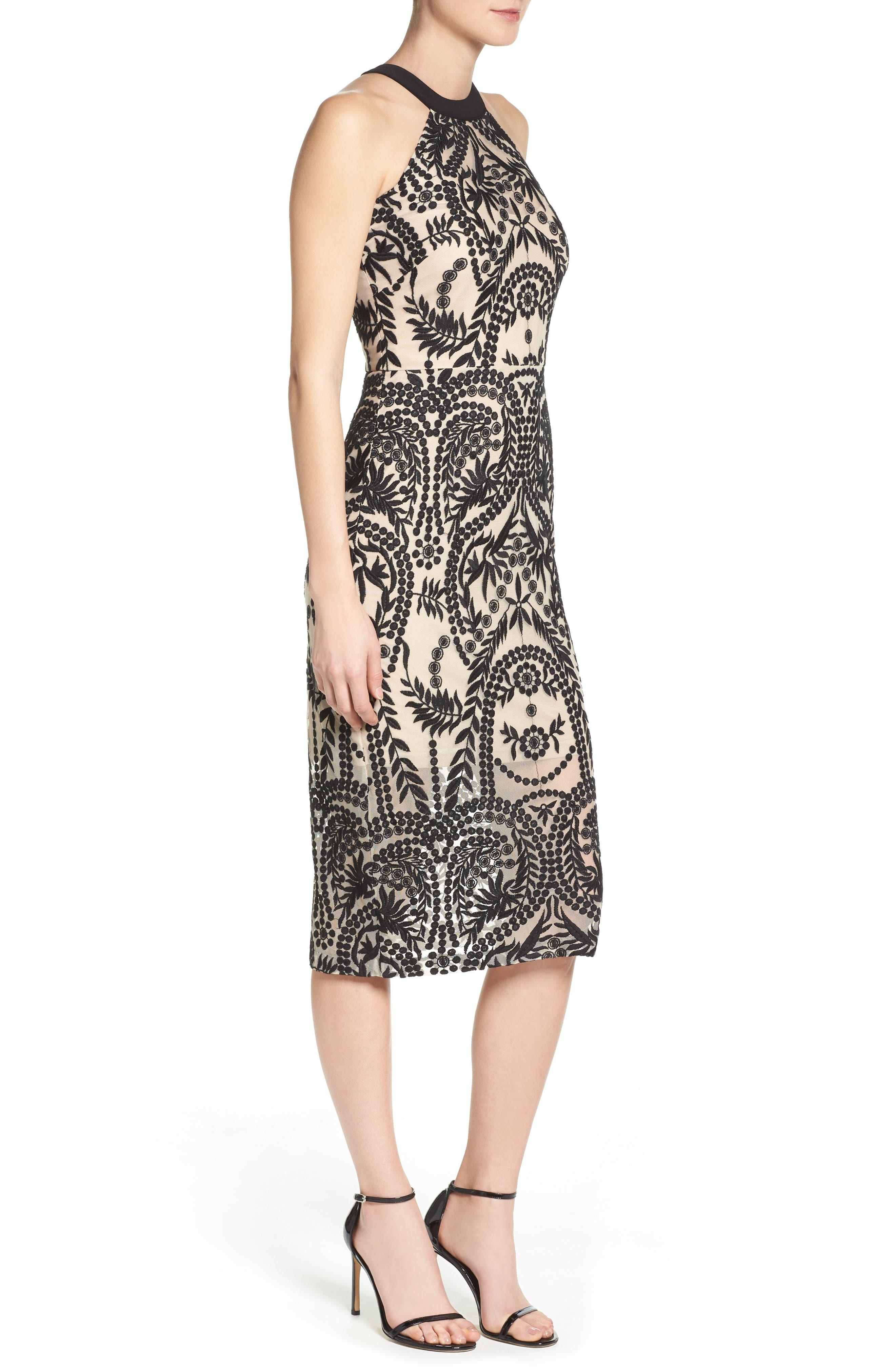 Mesh Halter Midi Dress,                             Alternate thumbnail 3, color,                             019