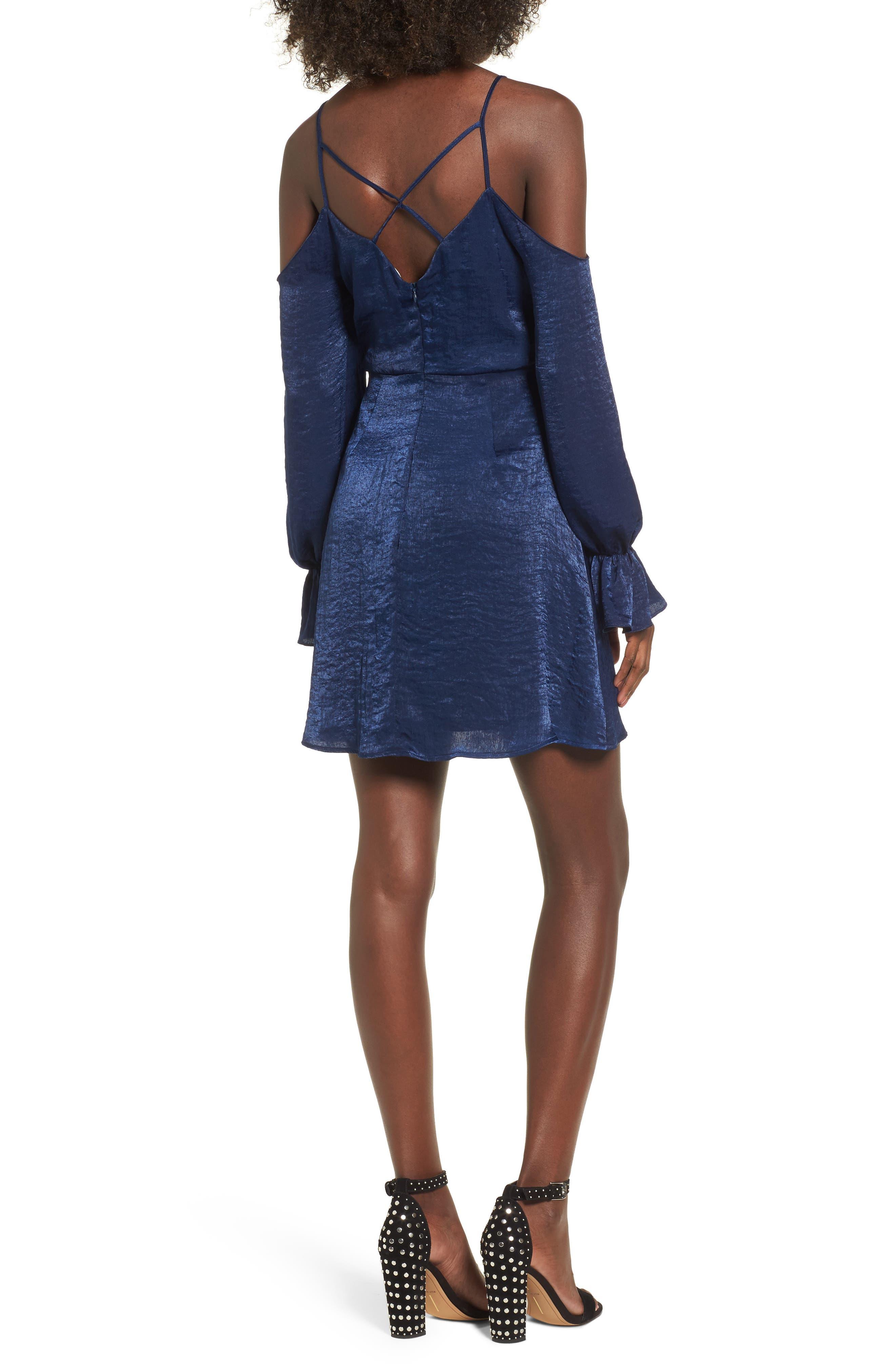 Satin Cold Shoulder Dress,                             Alternate thumbnail 2, color,                             400