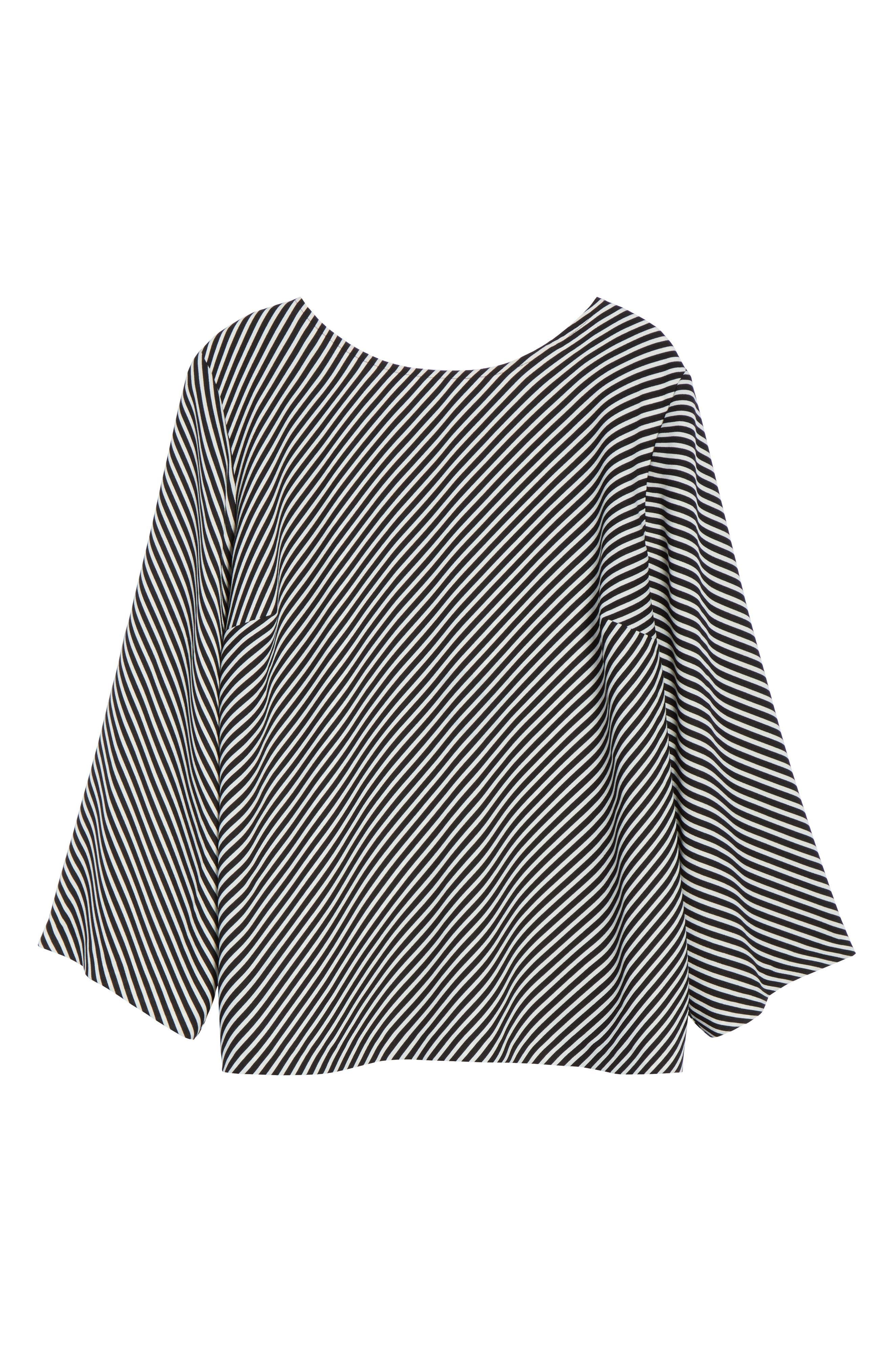 Bell Sleeve Diagonal Stripe Blouse,                             Alternate thumbnail 6, color,                             006