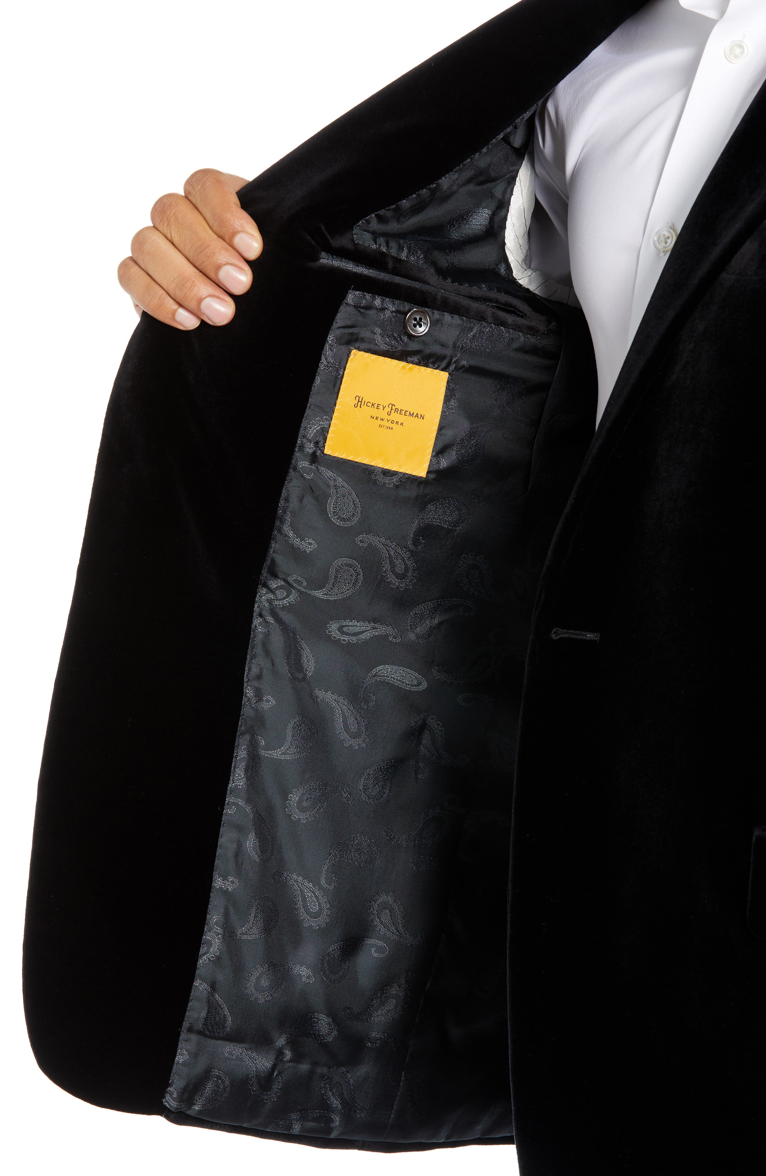 Classic Fit Stretch Cotton Velvet Dinner Jacket,                             Alternate thumbnail 4, color,                             BLACK