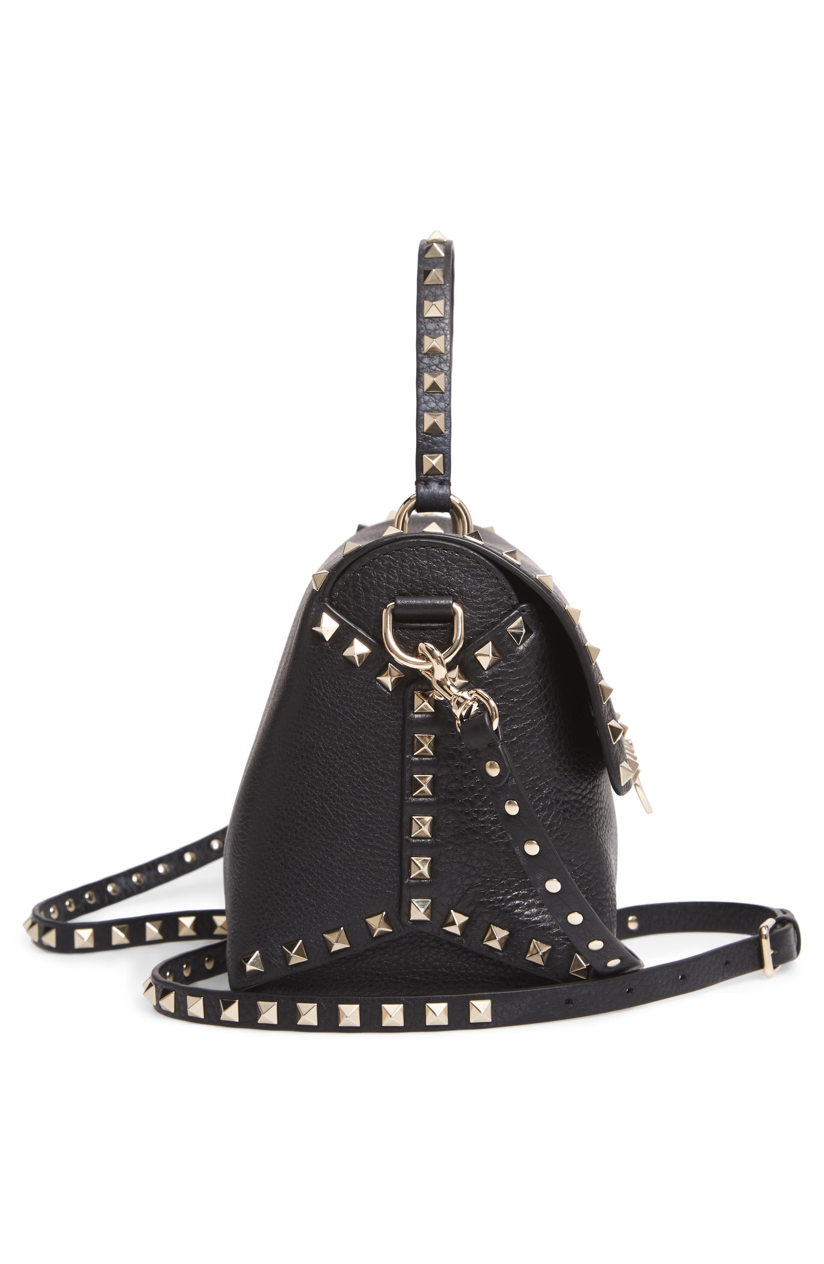 Rockstud Leather Top Handle Bag,                             Alternate thumbnail 5, color,                             NERO