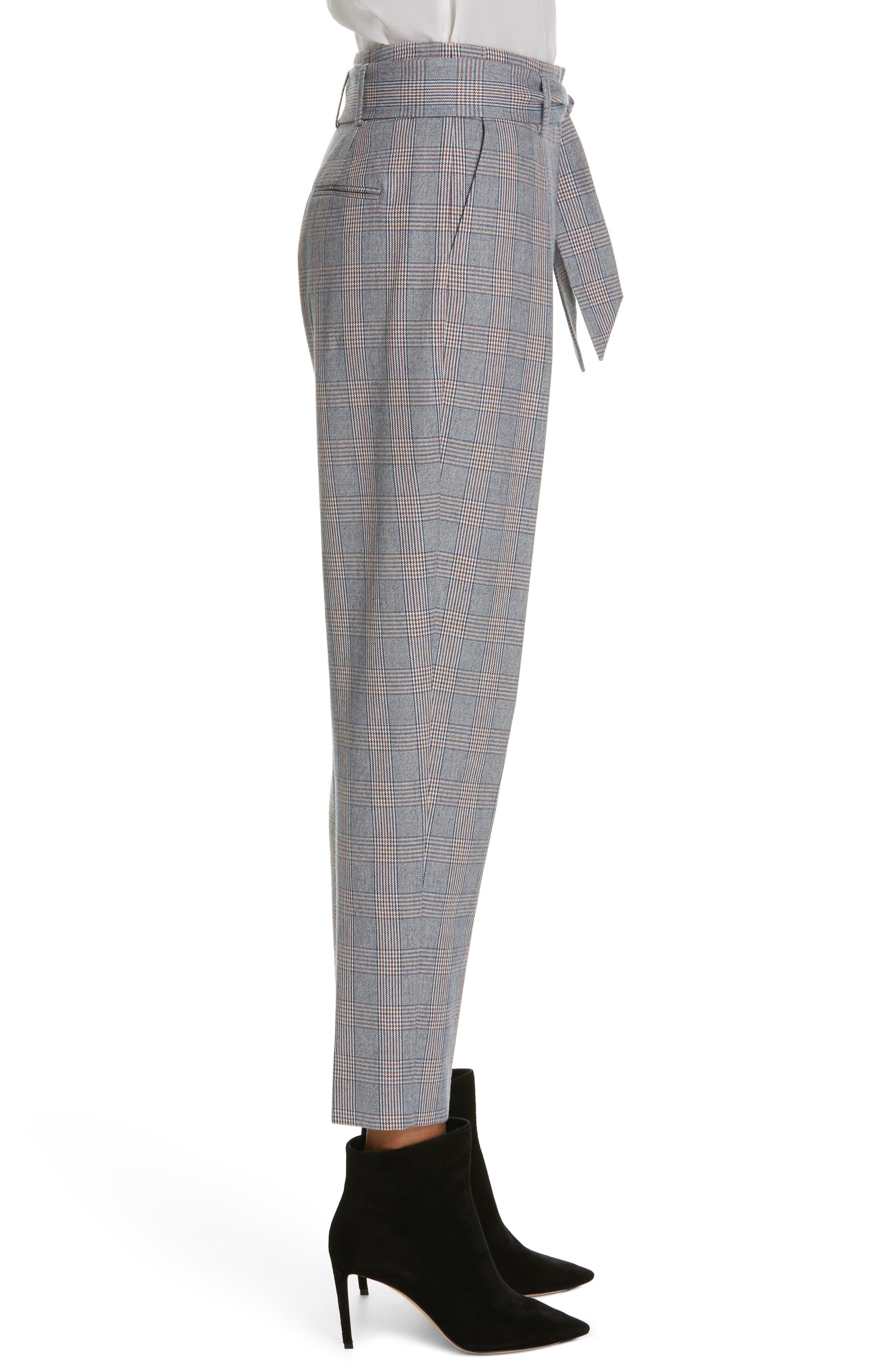 Marcelle Plaid Cotton & Wool Tie Waist Trousers,                             Alternate thumbnail 3, color,                             BLUE MULTI